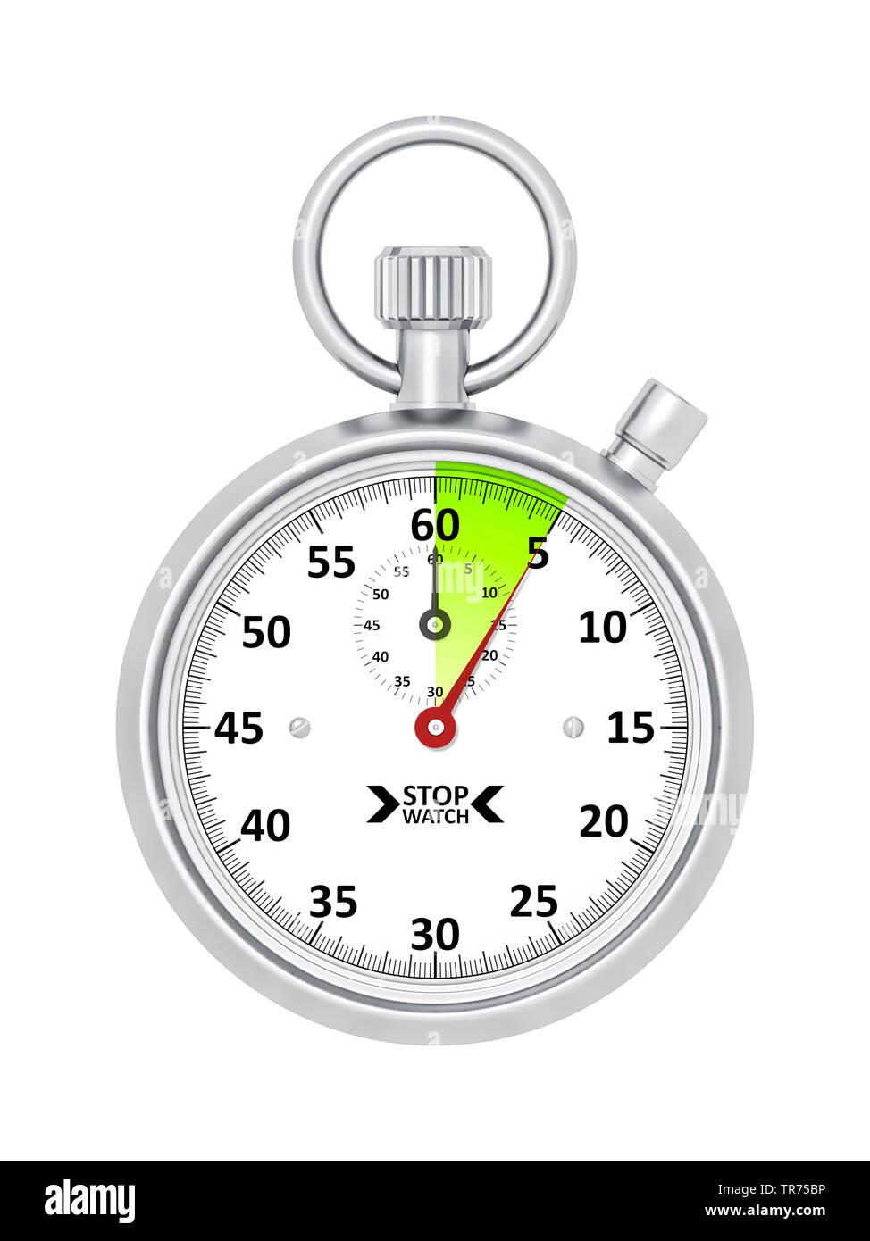 silberne Stoppuhr vor weissem Hintergrund, die etwa 5 Sekunden anzeigt | silver stopclock, cutout, 5 seconds  | BLWS498277.jpg [ (c) blickwinkel/McPHO - Stock Image