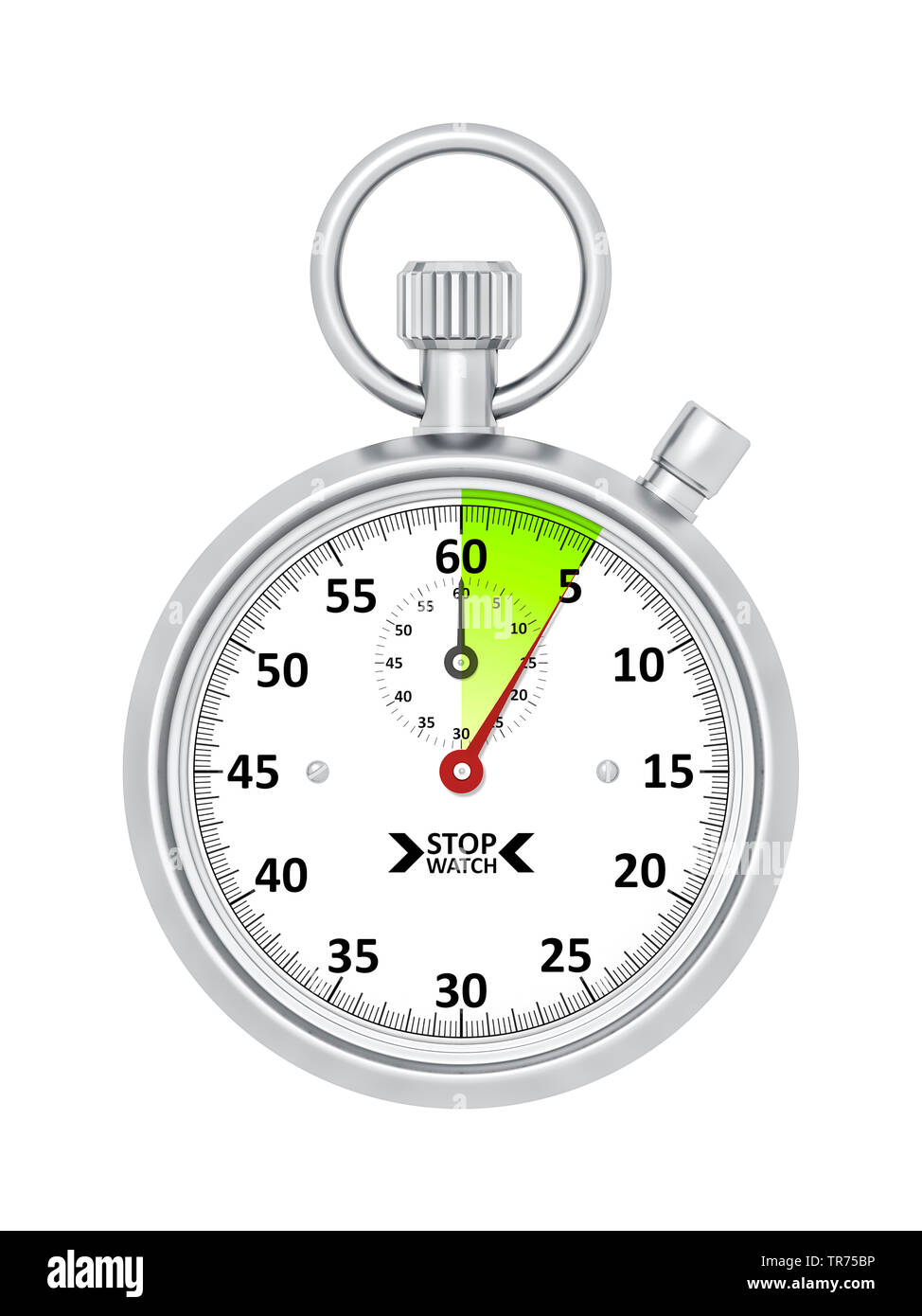 silver stopclock, cutout, 5 seconds Stock Photo