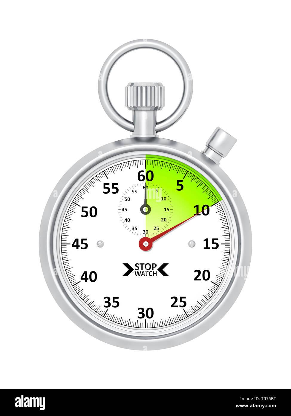 silberne Stoppuhr vor weissem Hintergrund, die etwa 10 Sekunden anzeigt | silver stopclock, cutout, 10 seconds  | BLWS498278.jpg [ (c) blickwinkel/McP - Stock Image