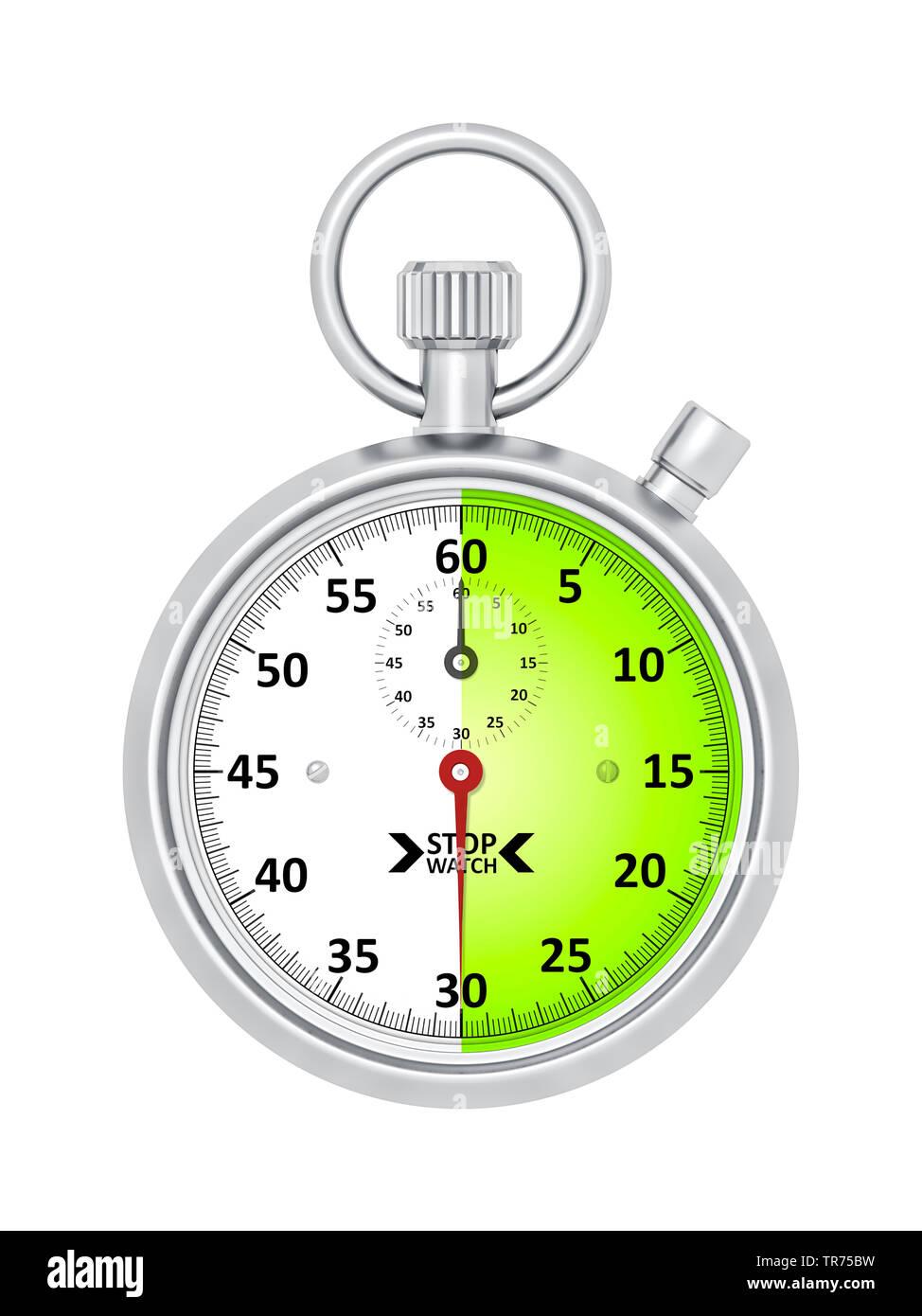 silberne Stoppuhr vor weissem Hintergrund, die etwa 30 Sekunden anzeigt | silver stopclock, cutout, 30 seconds  | BLWS498280.jpg [ (c) blickwinkel/McP - Stock Image