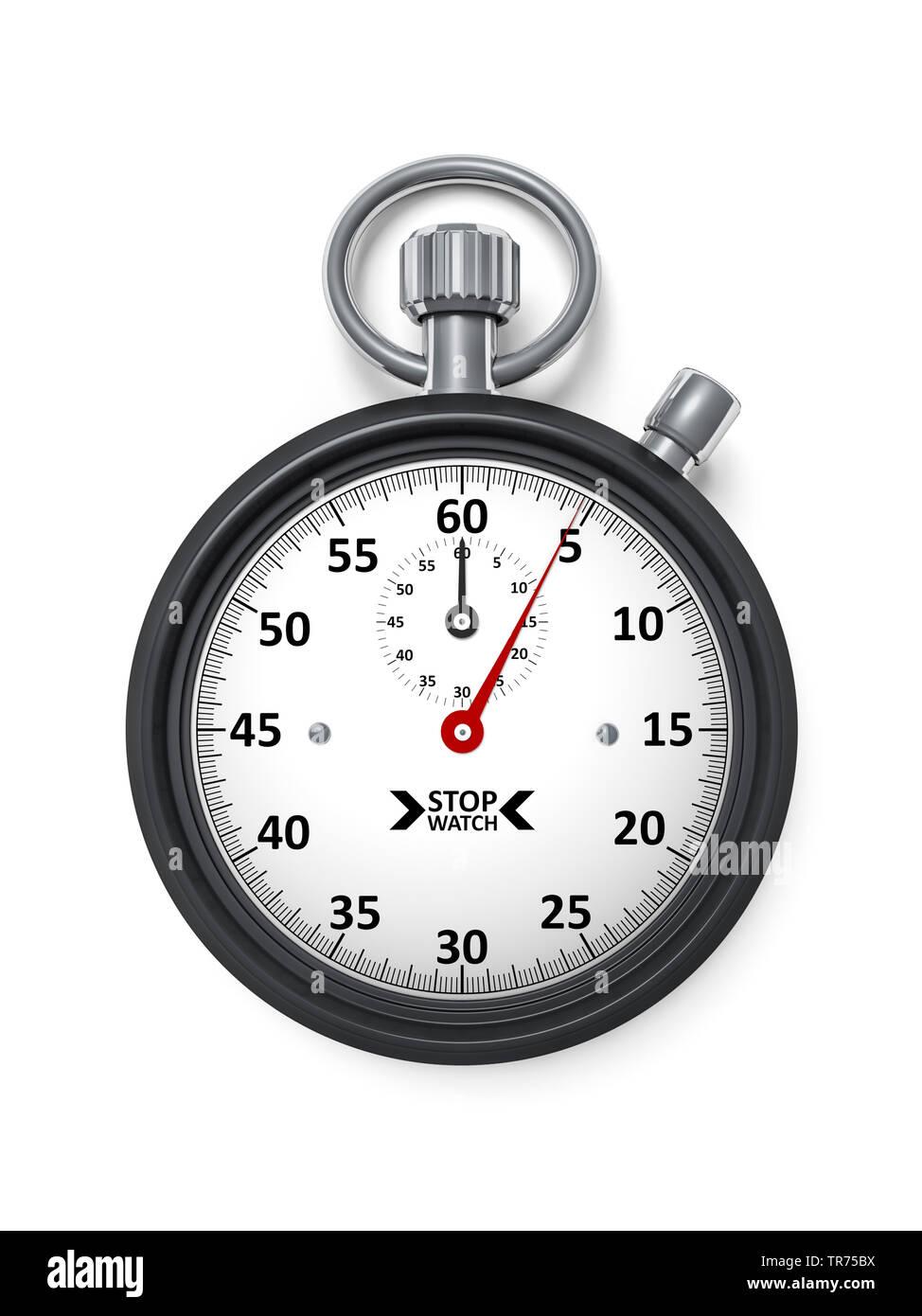 Stoppuhr vor weissem Hintergrund, die etwa 5 Sekunden anzeigt | stopclock, cutout, 5 seconds  | BLWS498282.jpg [ (c) blickwinkel/McPHOTO/M. Gann Tel. - Stock Image