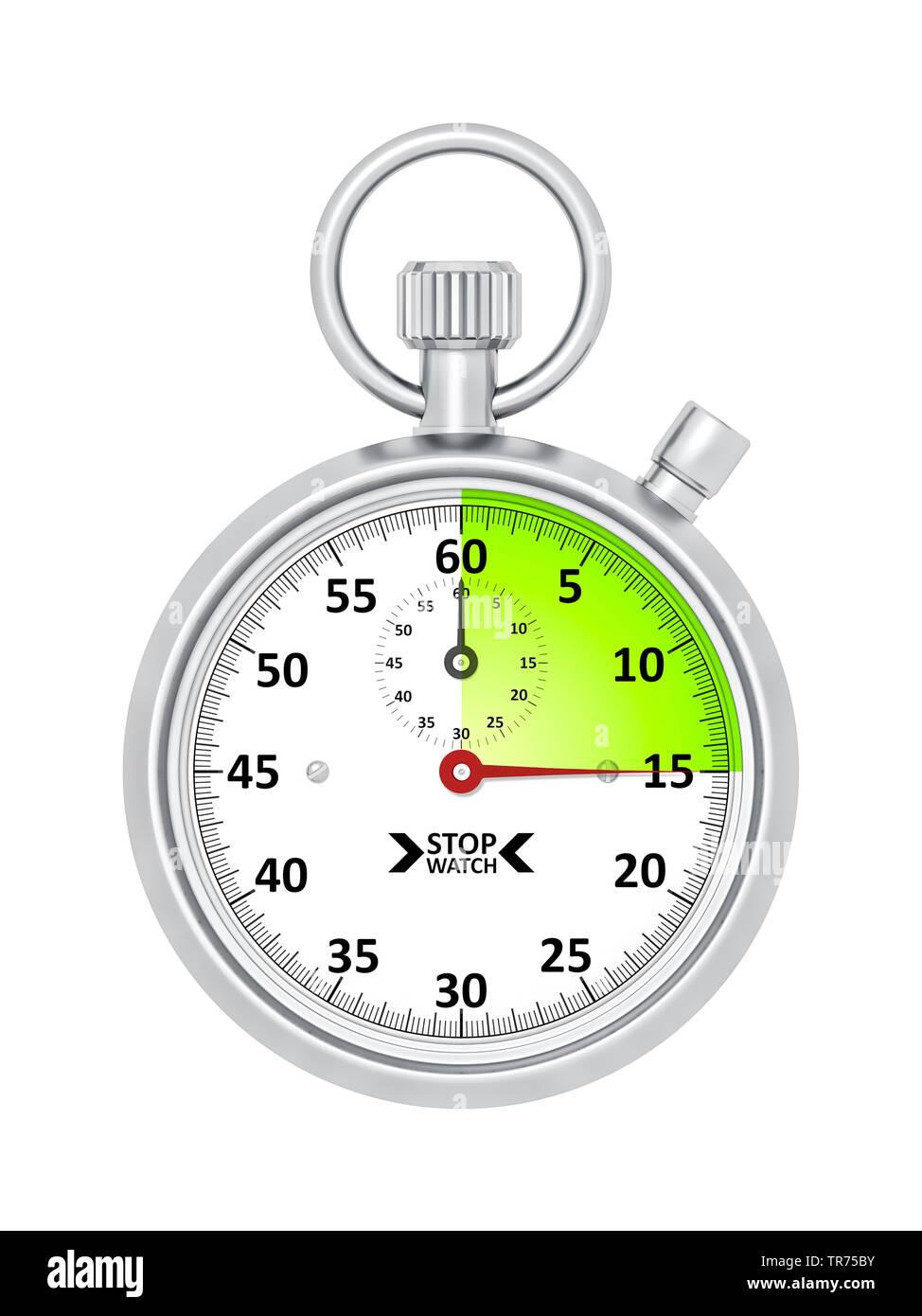 silberne Stoppuhr vor weissem Hintergrund, die etwa 15 Sekunden anzeigt | silver stopclock, cutout, 15 seconds  | BLWS498279.jpg [ (c) blickwinkel/McP - Stock Image