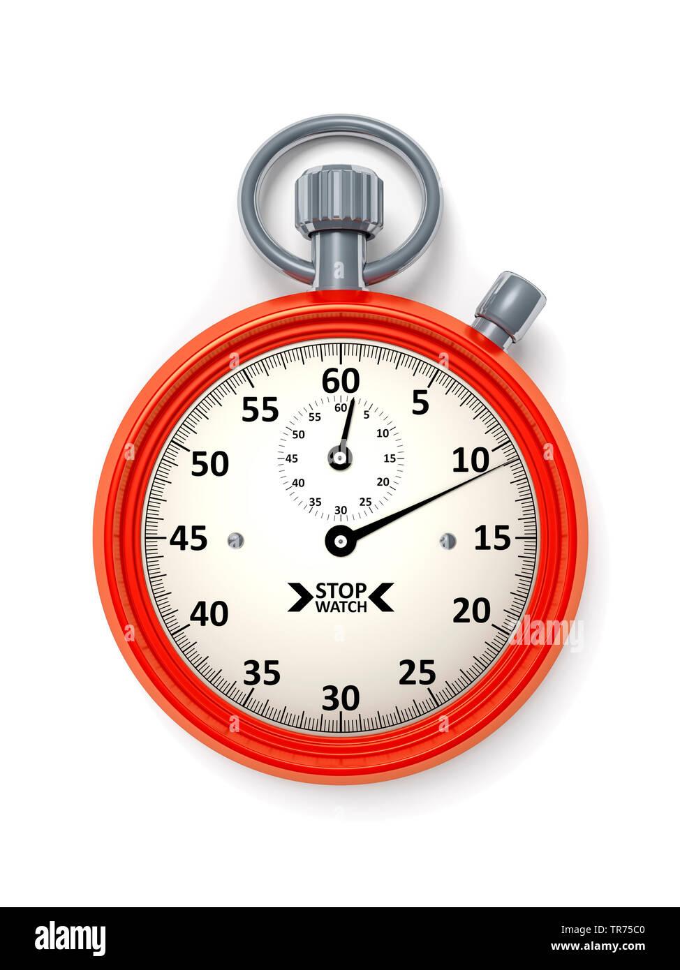 silberne Stoppuhr vor weissem Hintergrund, die 11 Sekunden anzeigt | silver stopclock, cutout, 11 seconds  | BLWS498285.jpg [ (c) blickwinkel/McPHOTO/ - Stock Image