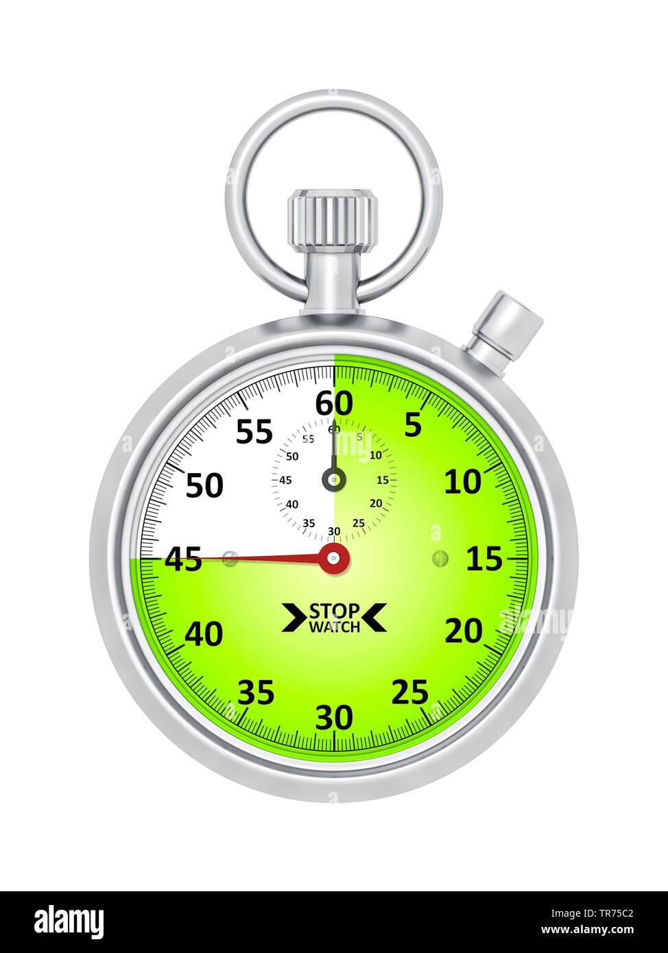 silberne Stoppuhr vor weissem Hintergrund, die etwa 45 Sekunden anzeigt | silver stopclock, cutout, 45 seconds  | BLWS498281.jpg [ (c) blickwinkel/McP - Stock Image