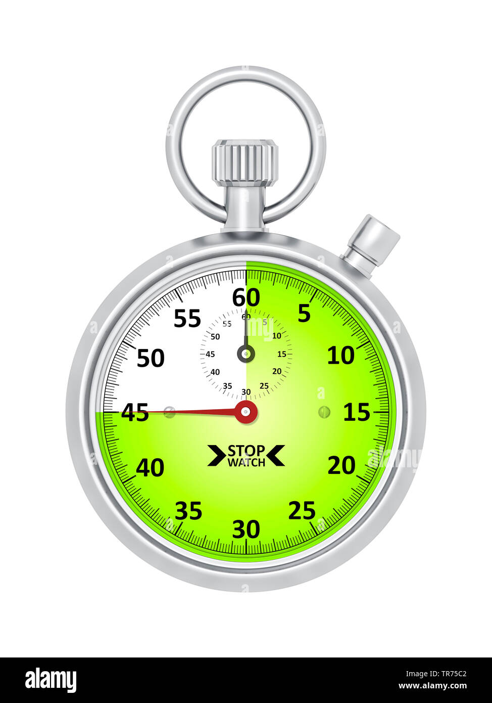 silver stopclock, cutout, 45 seconds - Stock Image