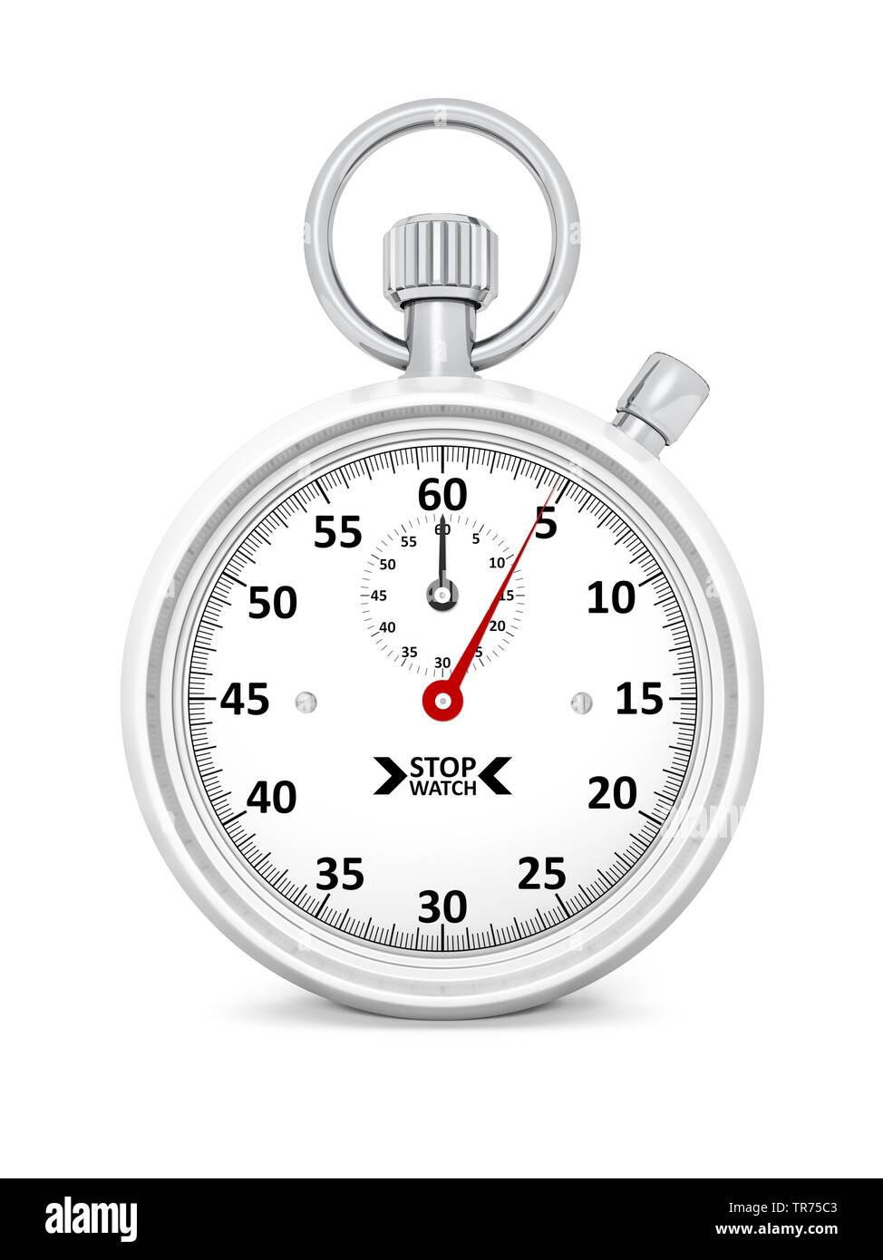 Stoppuhr vor weissem Hintergrund, die etwa 5 Sekunden anzeigt | stopclock, cutout, 5 seconds  | BLWS498286.jpg [ (c) blickwinkel/McPHOTO/M. Gann Tel. - Stock Image