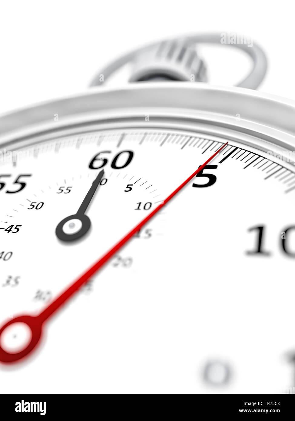 Stoppuhr vor weissem Hintergrund, die etwa 5 Sekunden anzeigt | stopclock, cutout, 5 seconds  | BLWS498284.jpg [ (c) blickwinkel/McPHOTO/M. Gann Tel. - Stock Image