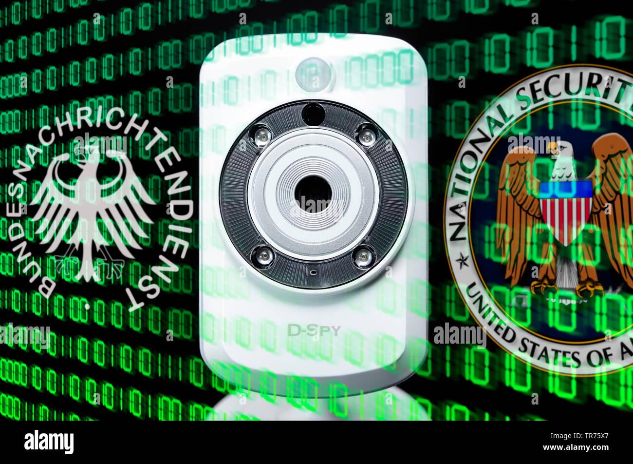 Webcam und Zeichen von BND und NSA, Symbolfoto BND-Skandal, Deutschland | webcam and symbol of BND and NSA, Germany | BLWS498759.jpg [ (c) blickwinkel - Stock Image