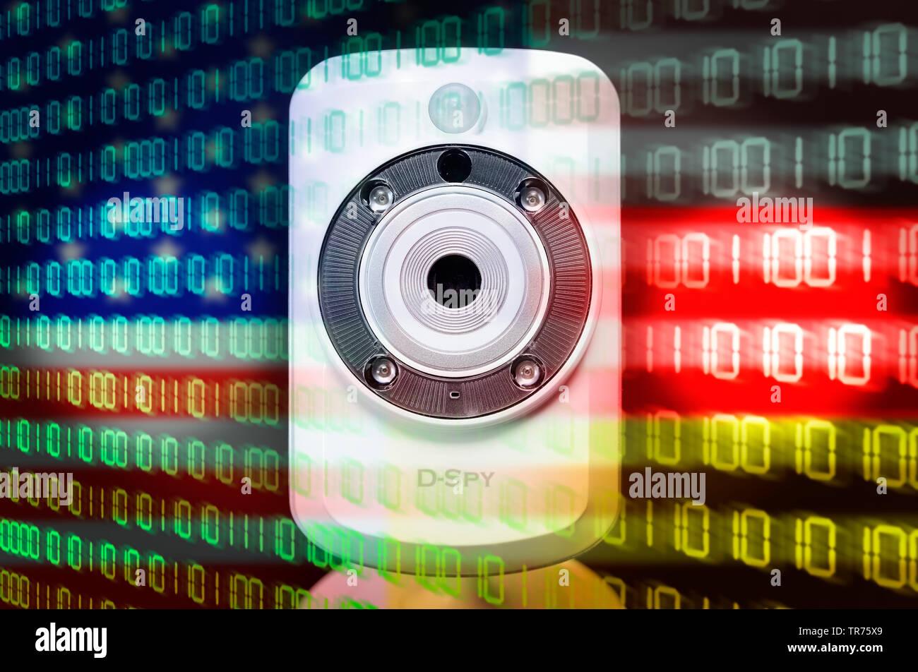 Webcam und Nationalfarben der USA und von Deutschland, Symbolfoto BND-NSA-Skandal | webcam and binary code with national colours of USA and Germany | - Stock Image
