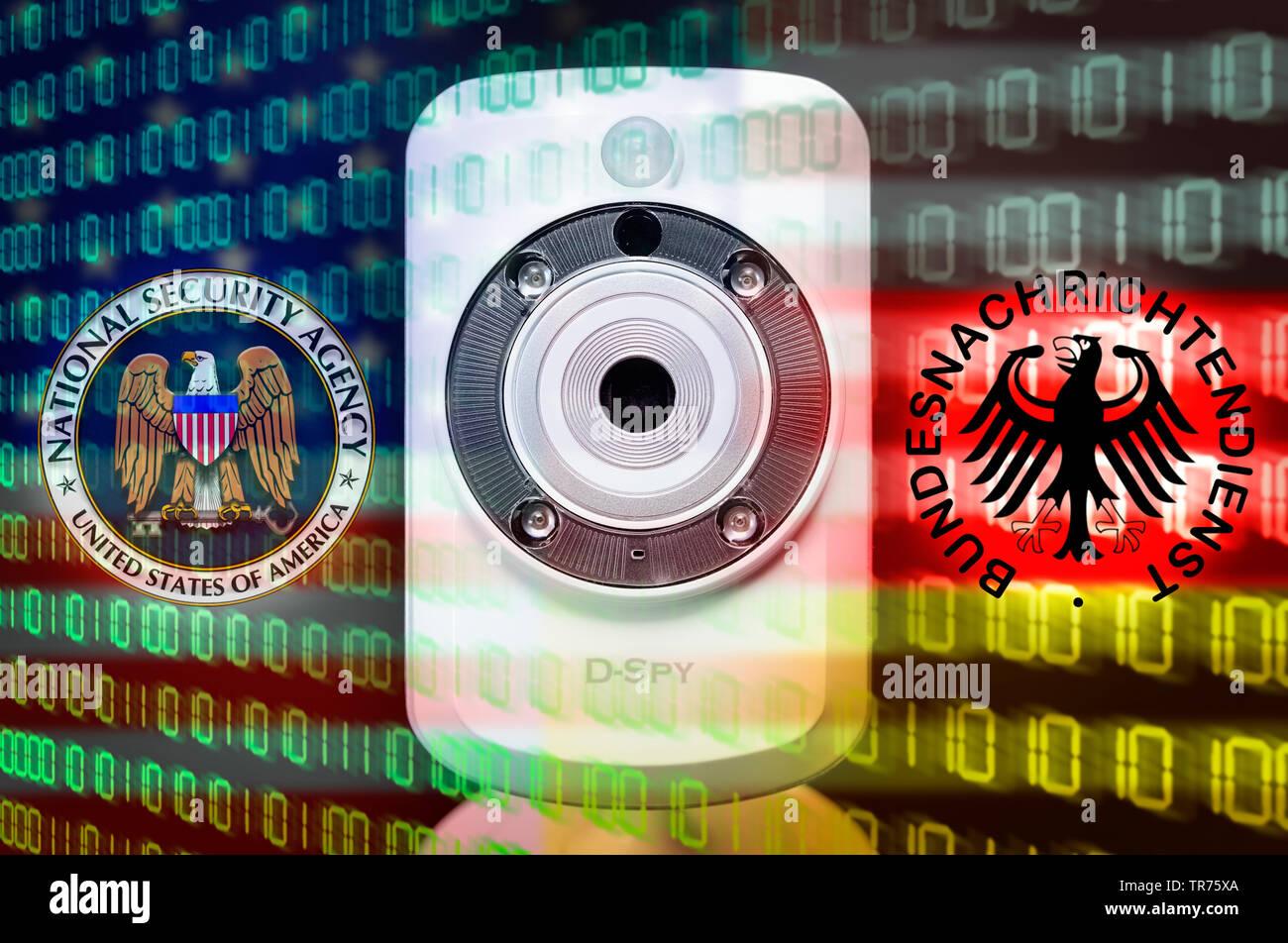 Webcam und Zeichen von BND und NSA, Symbolfoto BND-Skandal, Datenkontrolle | webcam and binary code | BLWS498761.jpg [ (c) blickwinkel/McPHOTO/C. Ohde - Stock Image