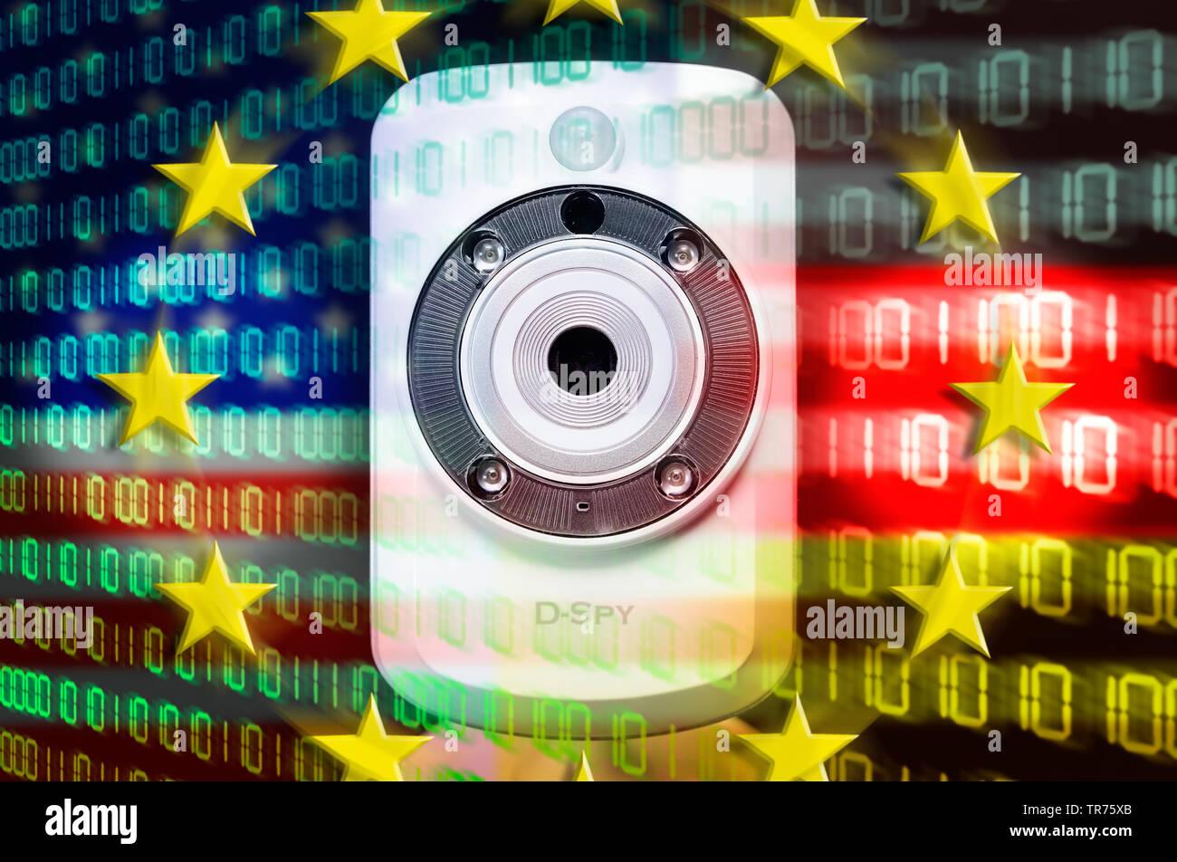 Webcam und Nationalfarben der USA und von Deutschland mit EU-Sternen, Symbolfoto BND-NSA-Skandal, Ausspaehung von EU-Staaten | webcam and binary code - Stock Image
