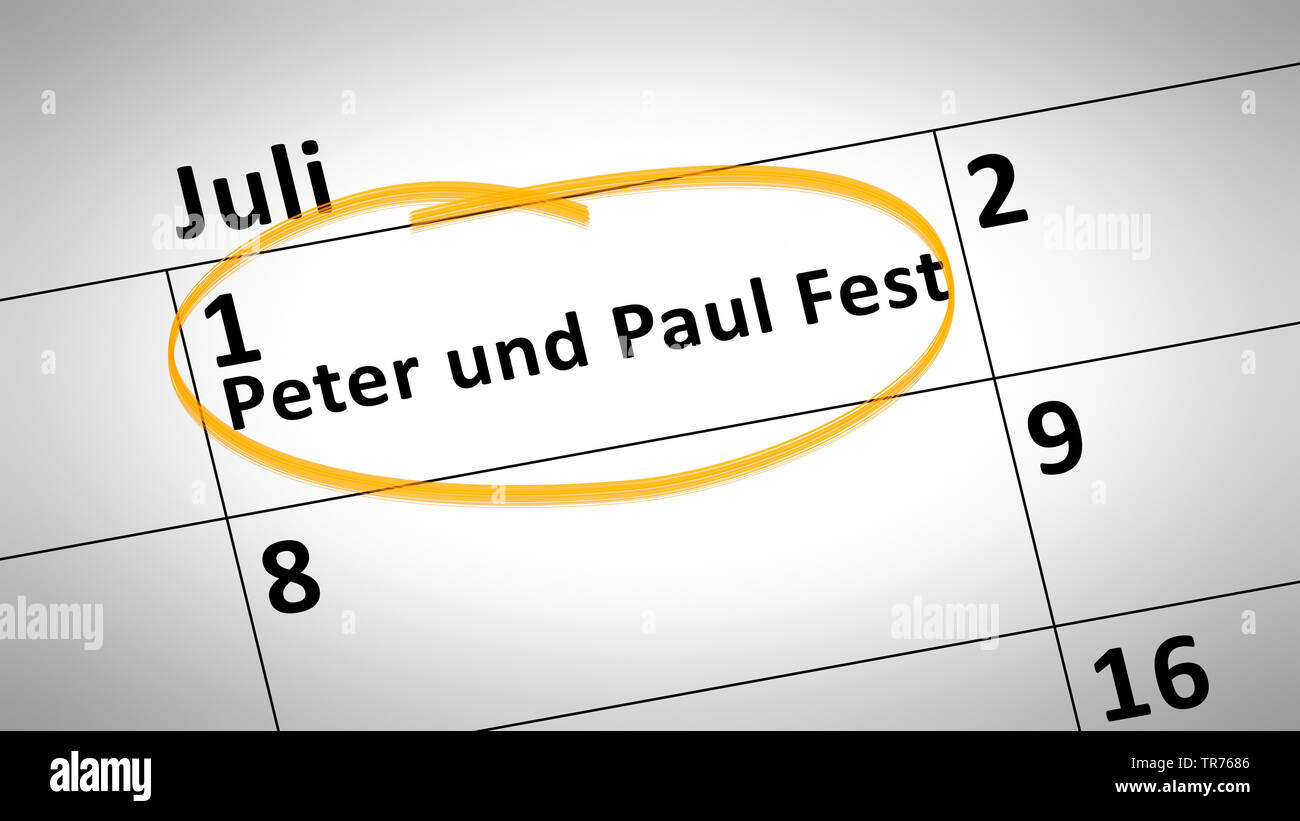 markierter Tag auf einem Kalender, 1. Juli, Peter und Paul-Fest, Deutschland | calendar detail shows Peter and Paul Festival first of July in german l - Stock Image