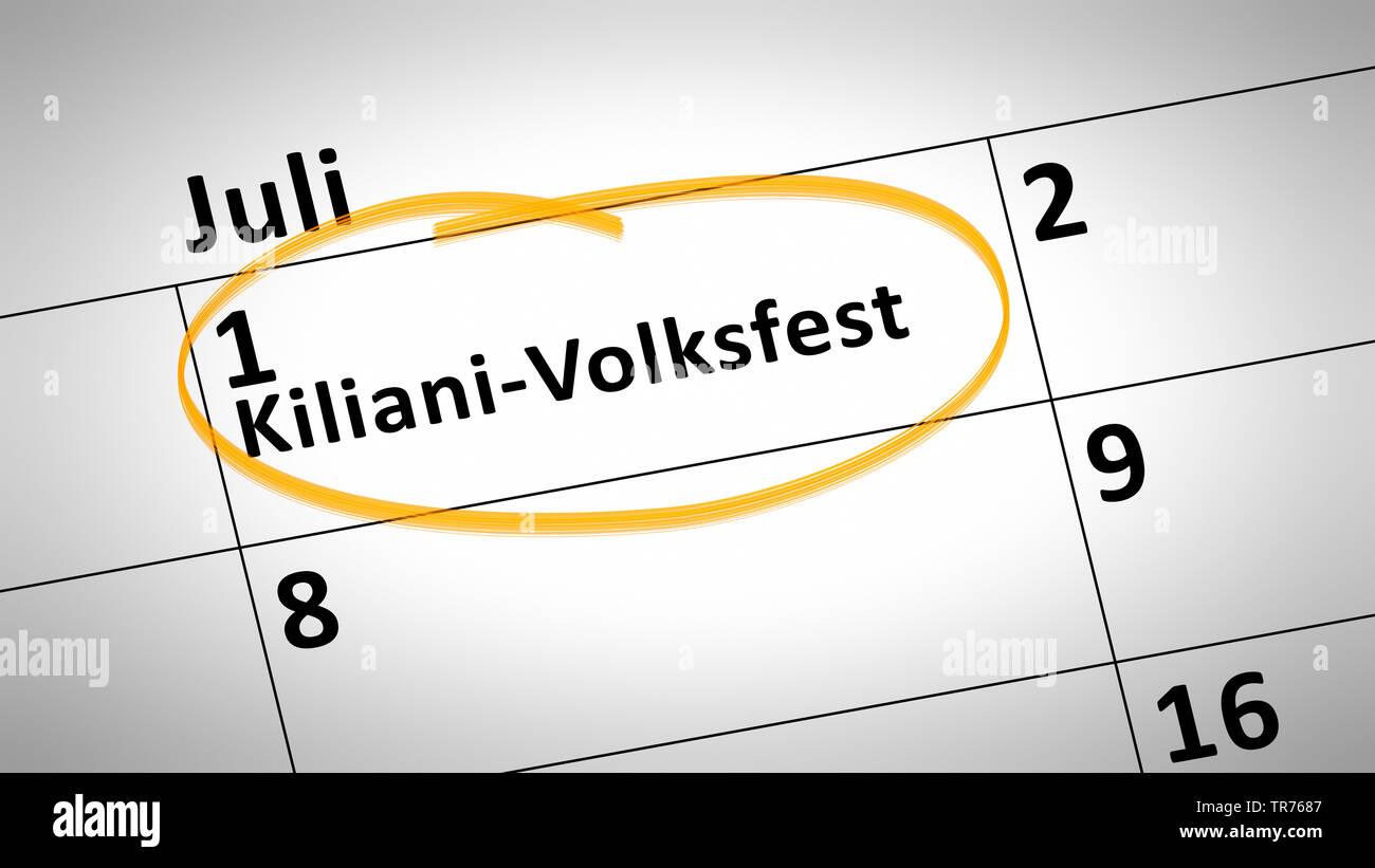 markierter Tag auf einem Kalender, 1. Juli, Kiliani folk festival, Kiliani-Volksfest, Deutschland | calendar detail shows Kiliani folk festival first - Stock Image