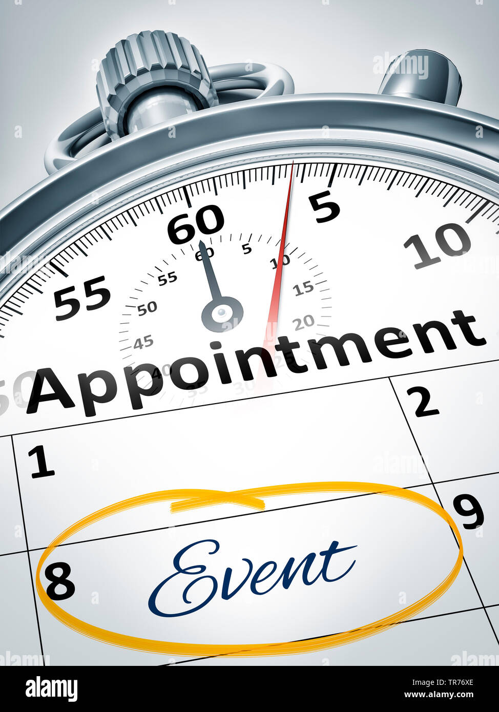 3D computer graphic, stopclock against white background lettering APPOINTMENT/EVENT - Stock Image