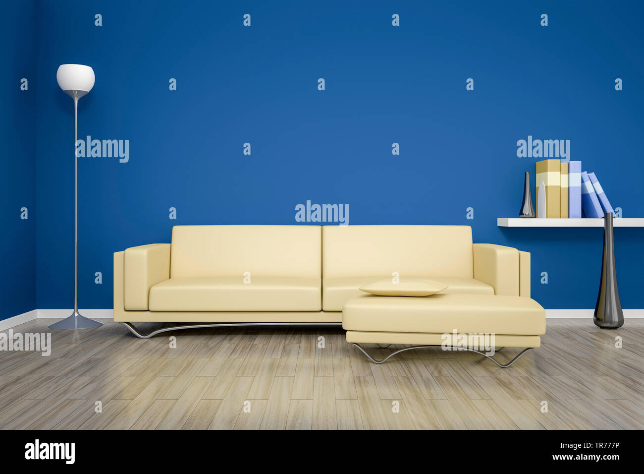 3d Computer Graphic Interior Design With Modern Leather Sofa In Beige Color Against A Blue Wall Stock Photo Alamy