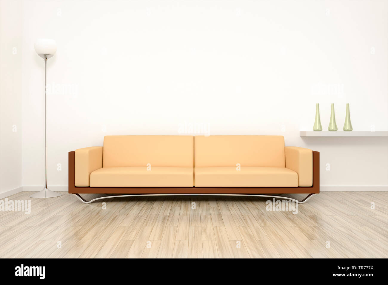 3d Computer Graphic Interior Design With Modern Leather Sofa In Beige Color Against A White Wall Stock Photo Alamy