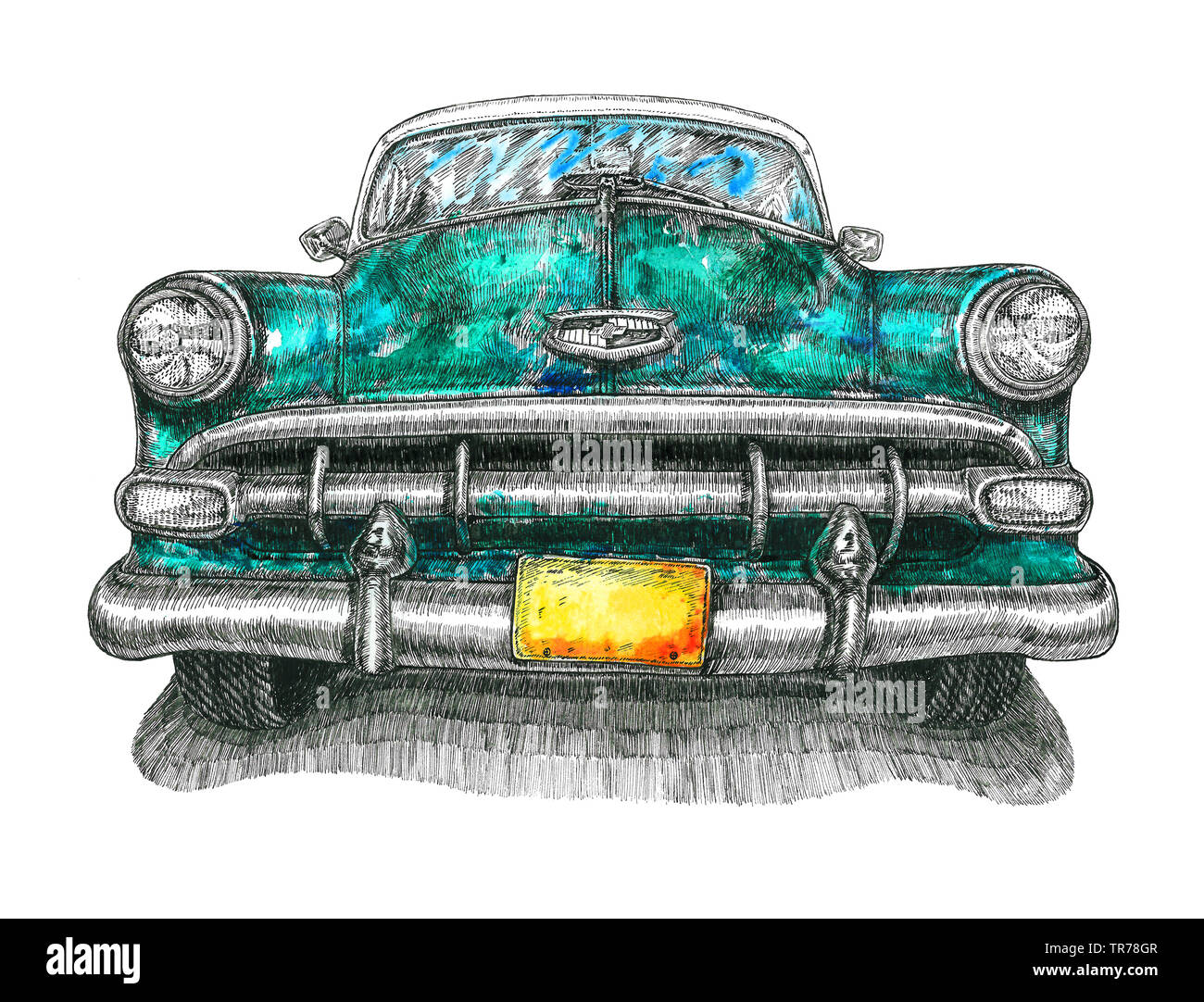 Turquoise Chevrolet Bel Air front view, mixed media, watercolor illustration with ink  drawing, isolated on white background - Stock Image