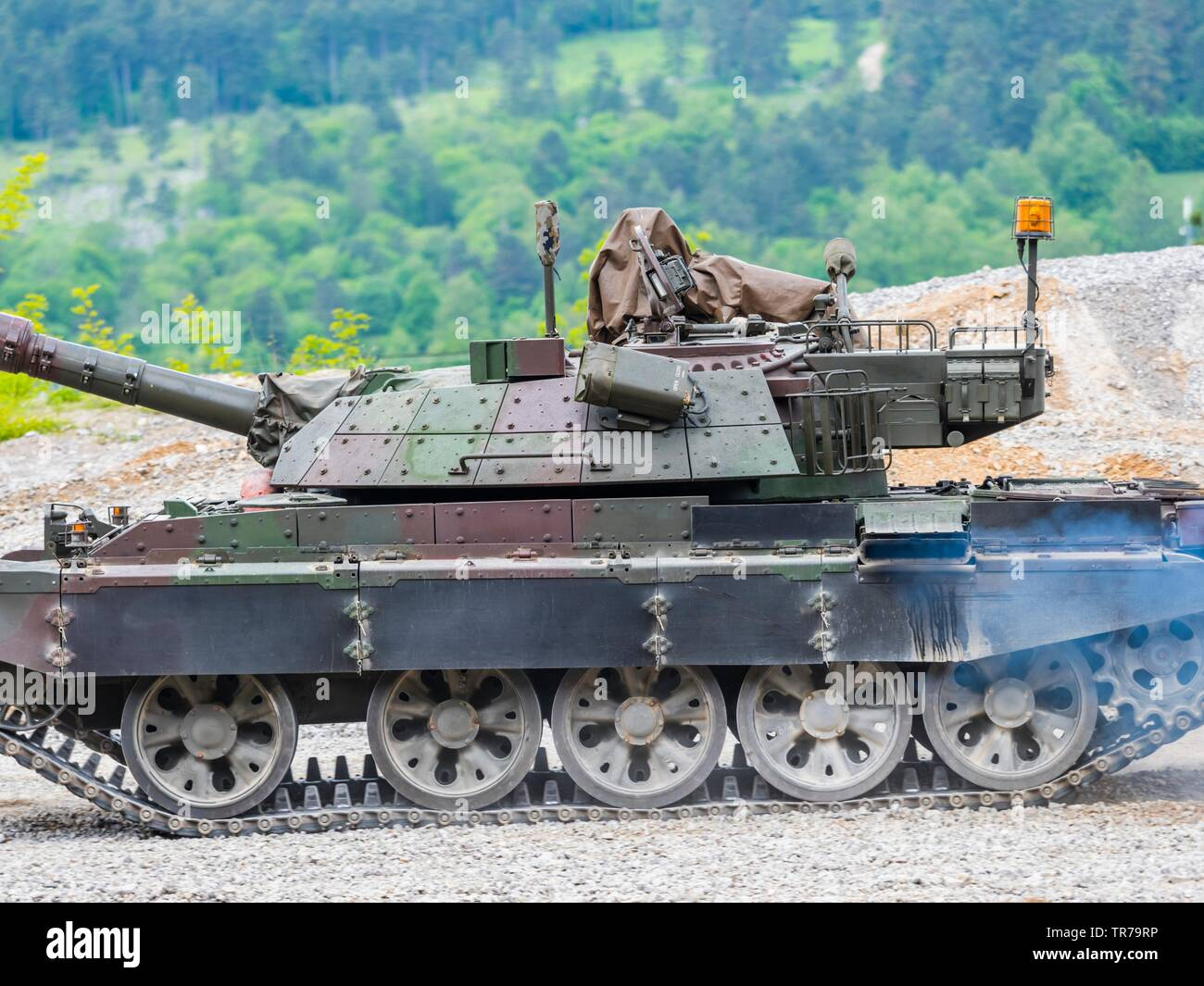 Slovenian MBT T-55S modified T-55 during public driving demonstration - Stock Image