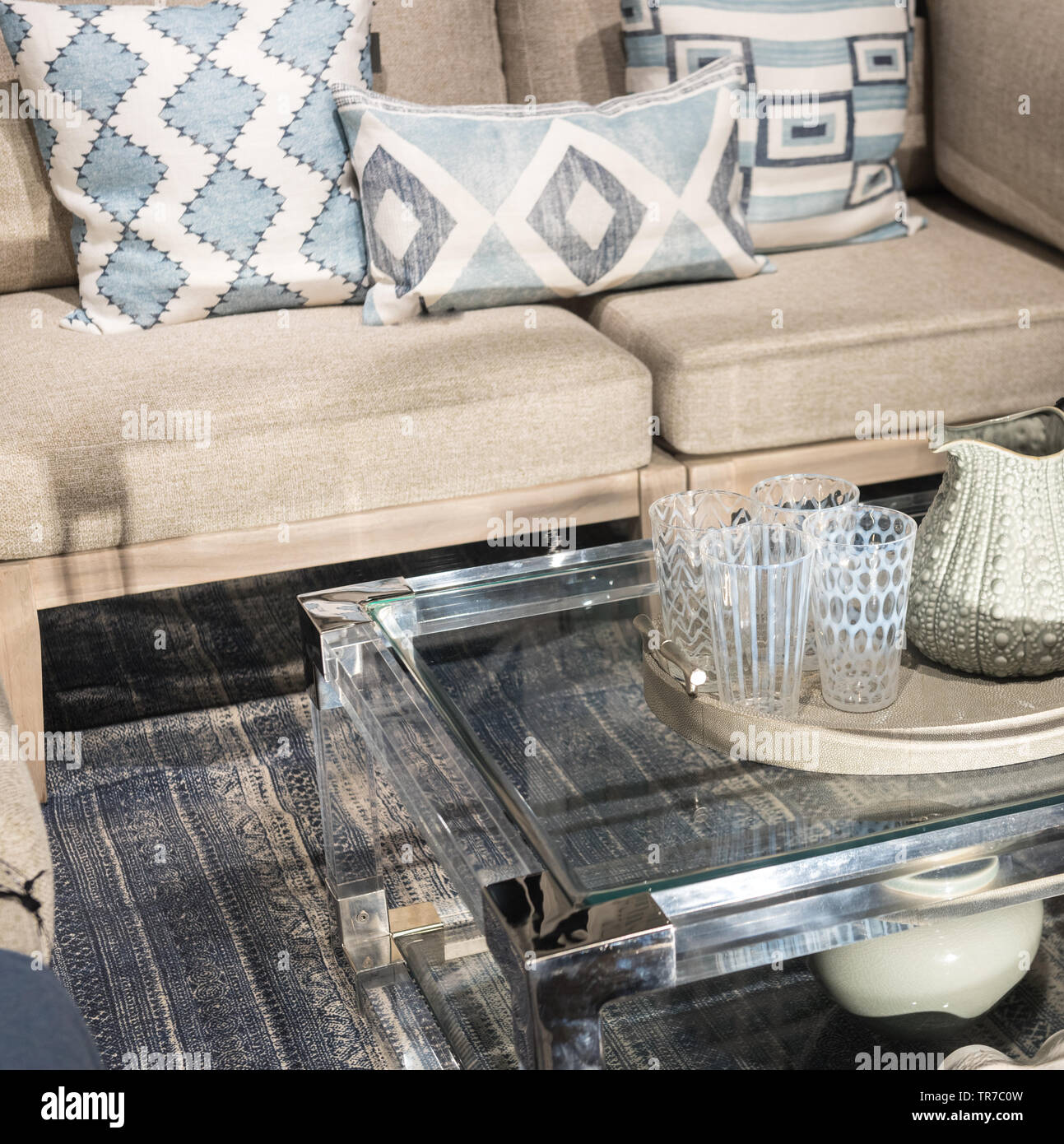 Groovy Glass Coffee Table Next To Sofa With Patterned Glasses And Uwap Interior Chair Design Uwaporg