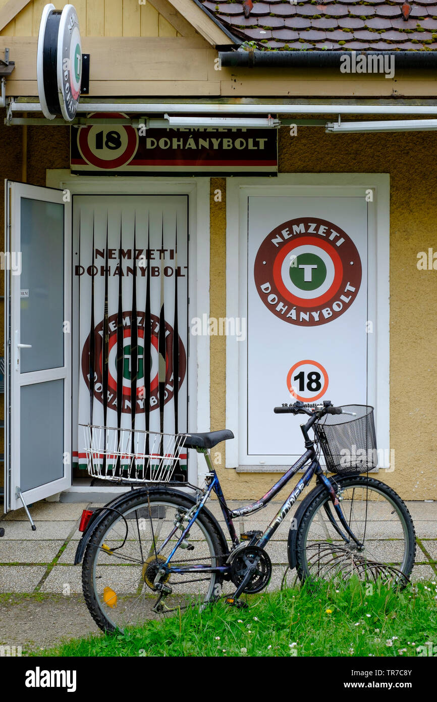 exterior of a hungarian government approved and licensed shop for selling tobacco products zala county hungary Stock Photo