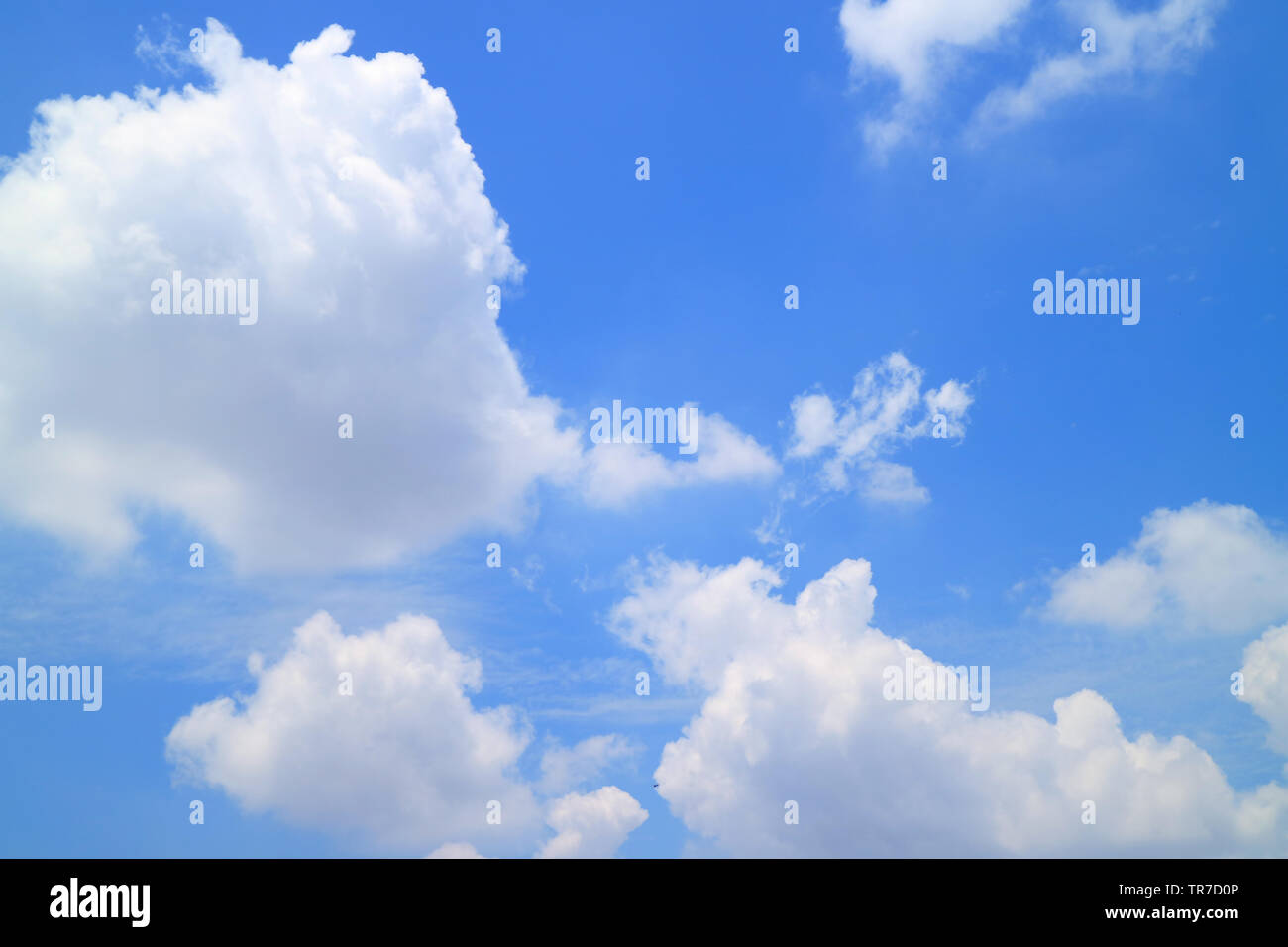 Vibrant sunny blue sky with white fluffy clouds - Stock Image