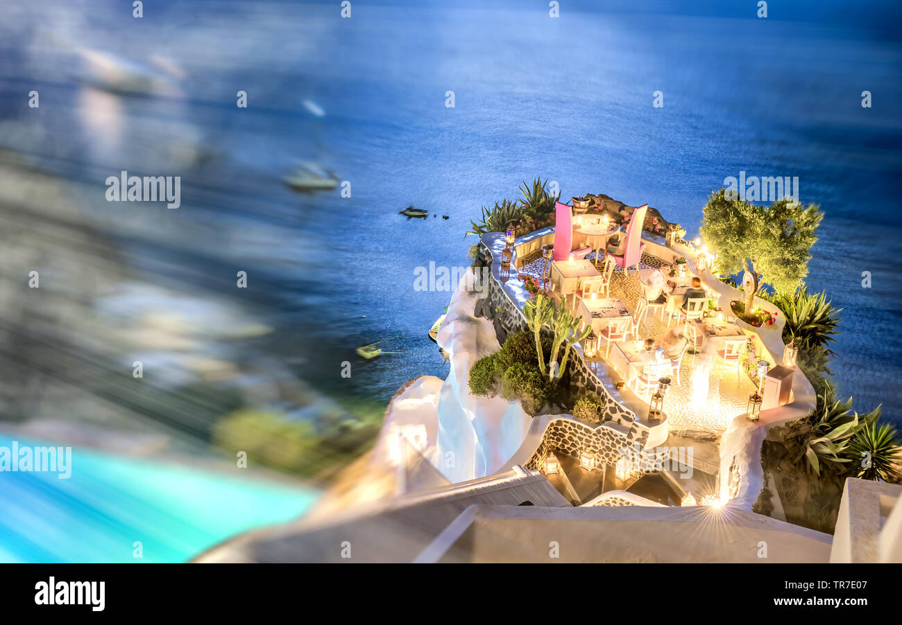 Island Restaurant At Summer Sunset With Open Ocean View