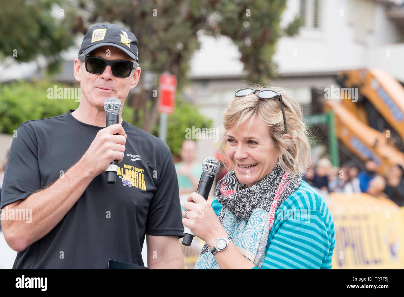 May 26th 2019 Sydney, Aust: Newly elected Federal member for the seat of Warringah, Zali Steggall encourages young runners at the Balmoral Burn race - Stock Image
