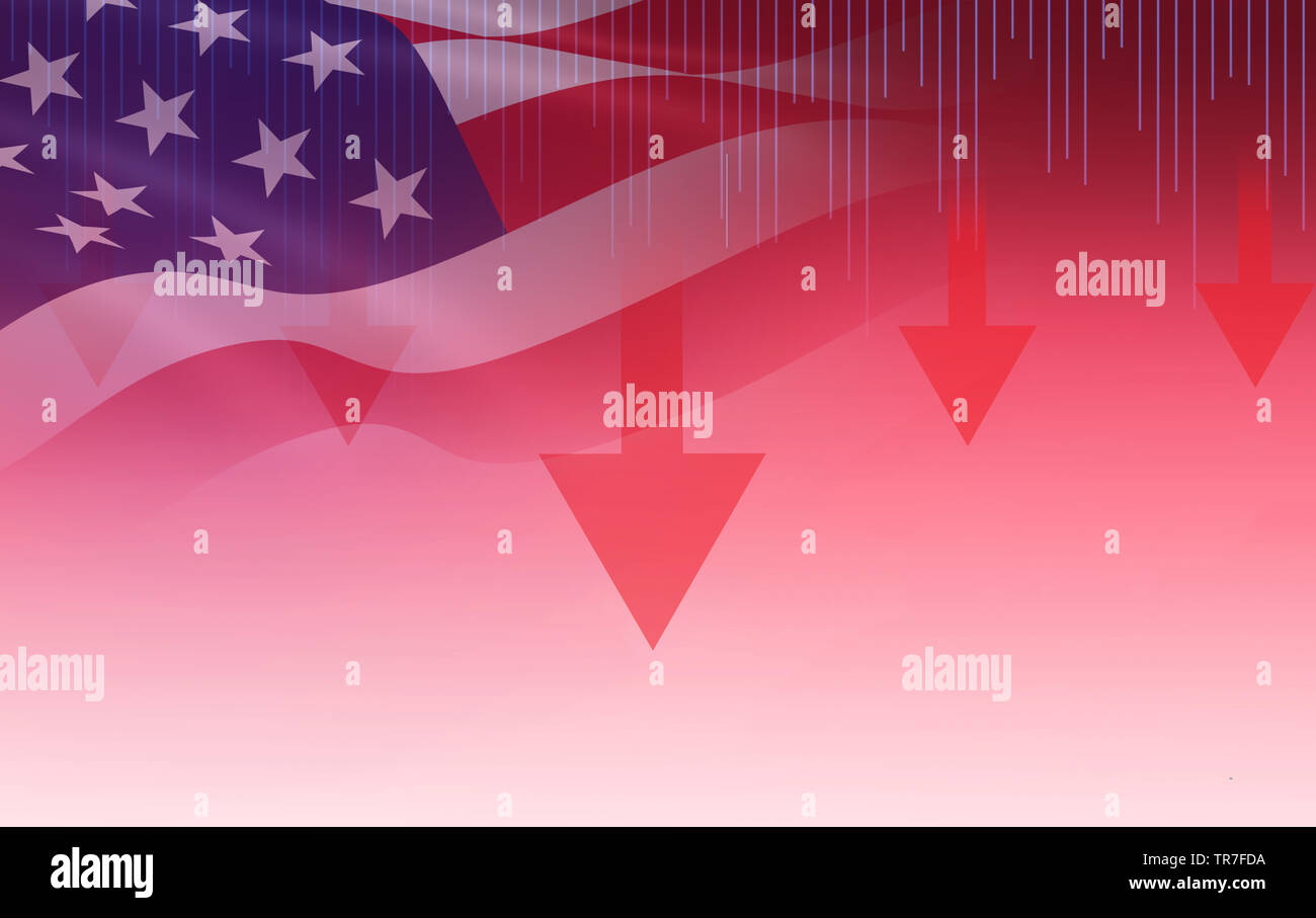 USA. America stock market crisis red price arrow down chart fall / New york Stock Exchange analysis or forex graph business finance money crisis losin - Stock Image