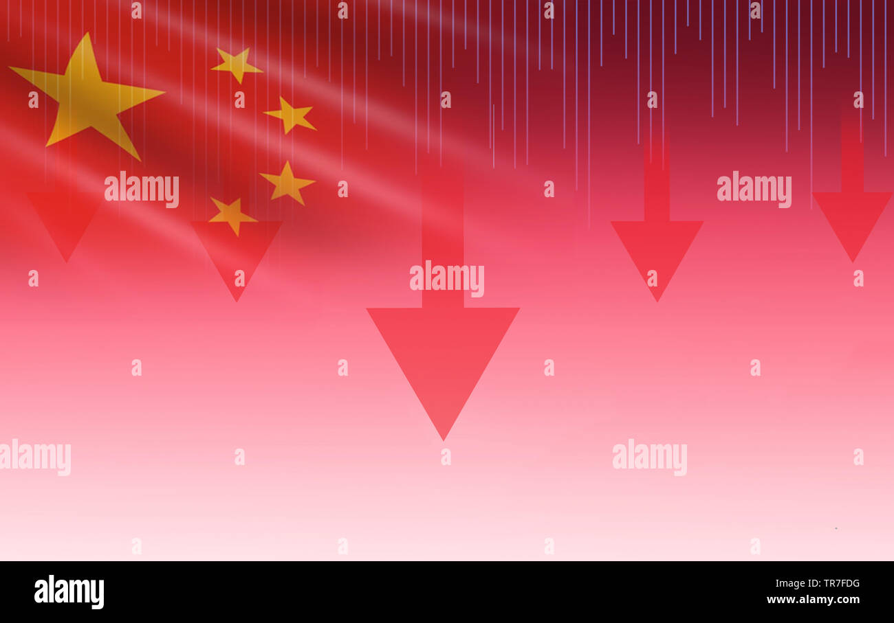 China Shanghai stock market crisis red price arrow down chart fall / Stock exchange analysis forex graph business finance money crisis losing down inf - Stock Image