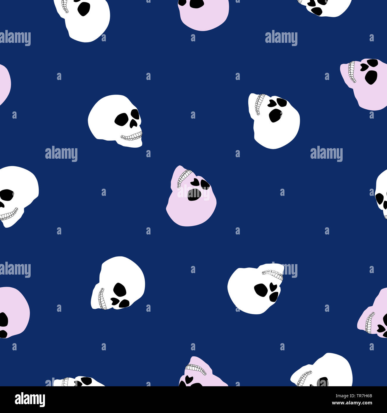 Girly Cute Halloween Wallpaper.Seamless Pattern White And Pink Human Skull On Blue Background
