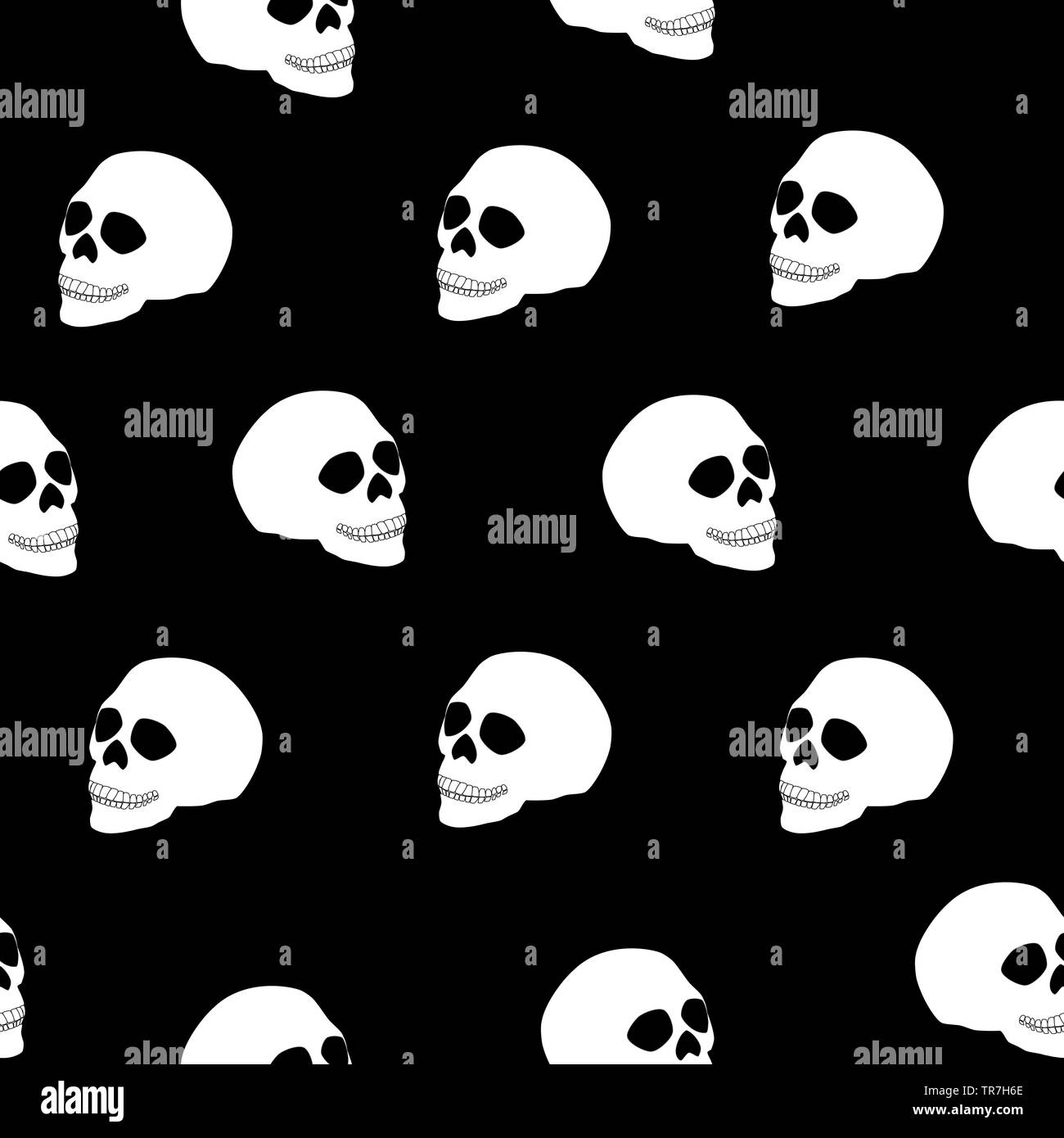 Seamless Pattern White Human Skull On Black Background