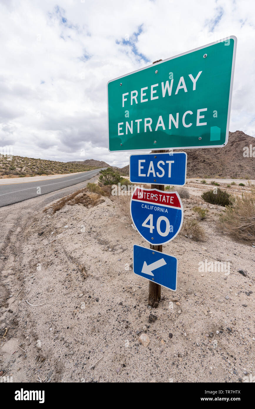Interstate 40 east freeway on ramp sign vertical view near Mojave National Preserve in Southern California. Stock Photo