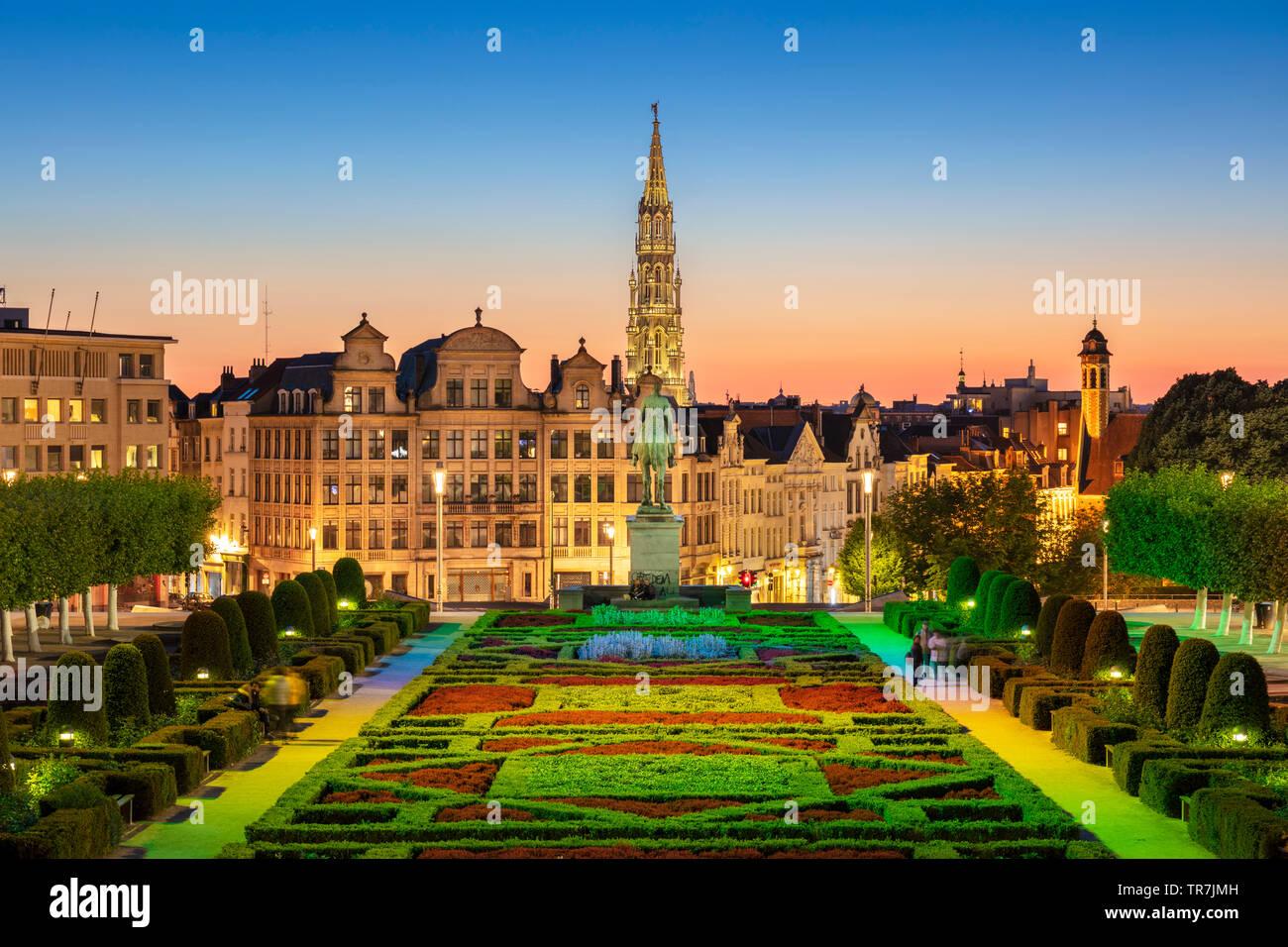 Sunset Mont des Arts Garden brussels Belgium Eu Europe - Stock Image