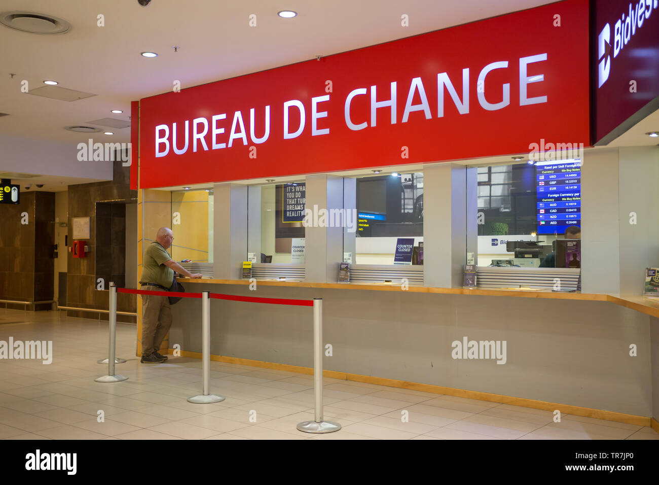 Bureau De Change Foreign Exchange Currency Converter Kiosks With A Tourist At The Counter Doing Some Business At Cape Town International Airport Stock Photo Alamy