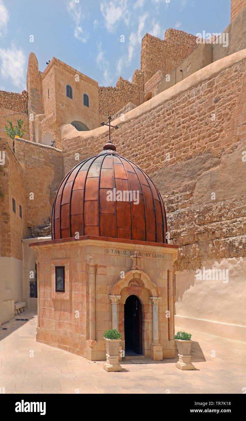 Greek Orthodox Monastery of Mar Saba in Judean Desert, Israel - Stock Image