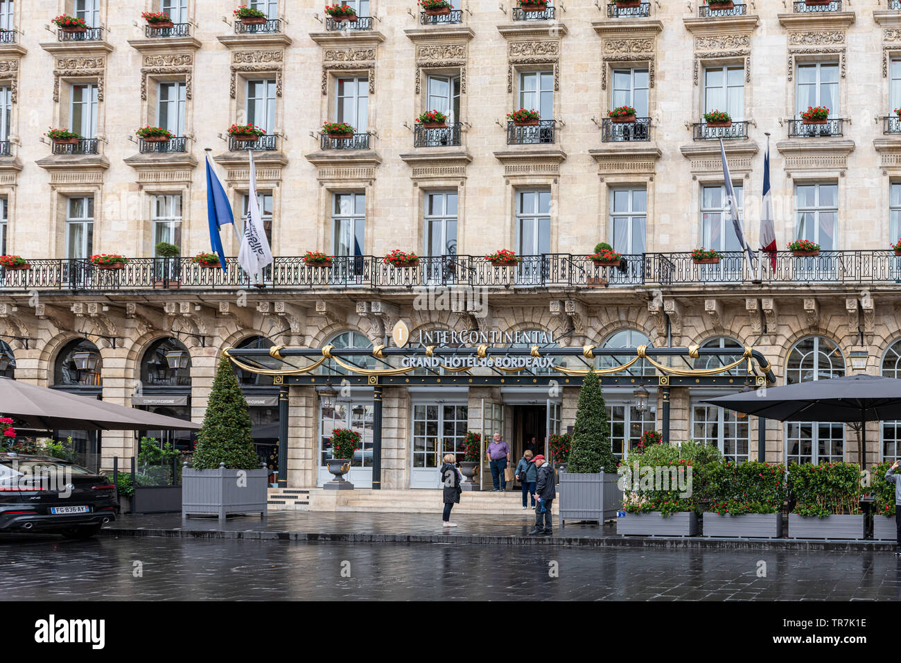 Intercontinental Grand Hotel in Bordeaux, France with Neoclassical Facade - Stock Image