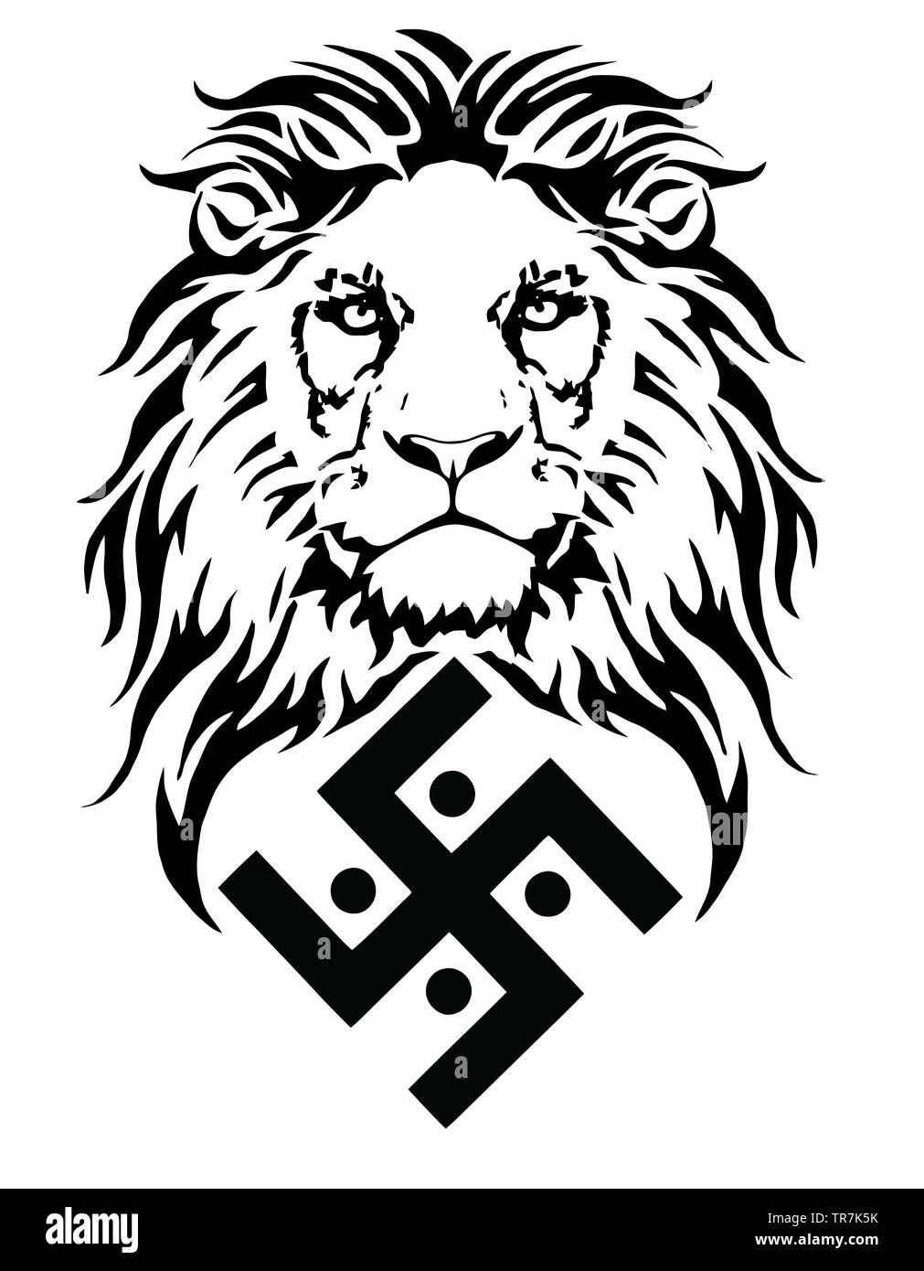 928f77033 The lion and the symbol of the Indian religion of Jainism - the swastika,  drawing