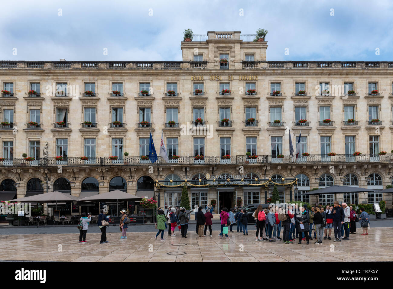 Intercontinental Grand Hotel in Bordeaux, France with Neoclassical Facade Stock Photo