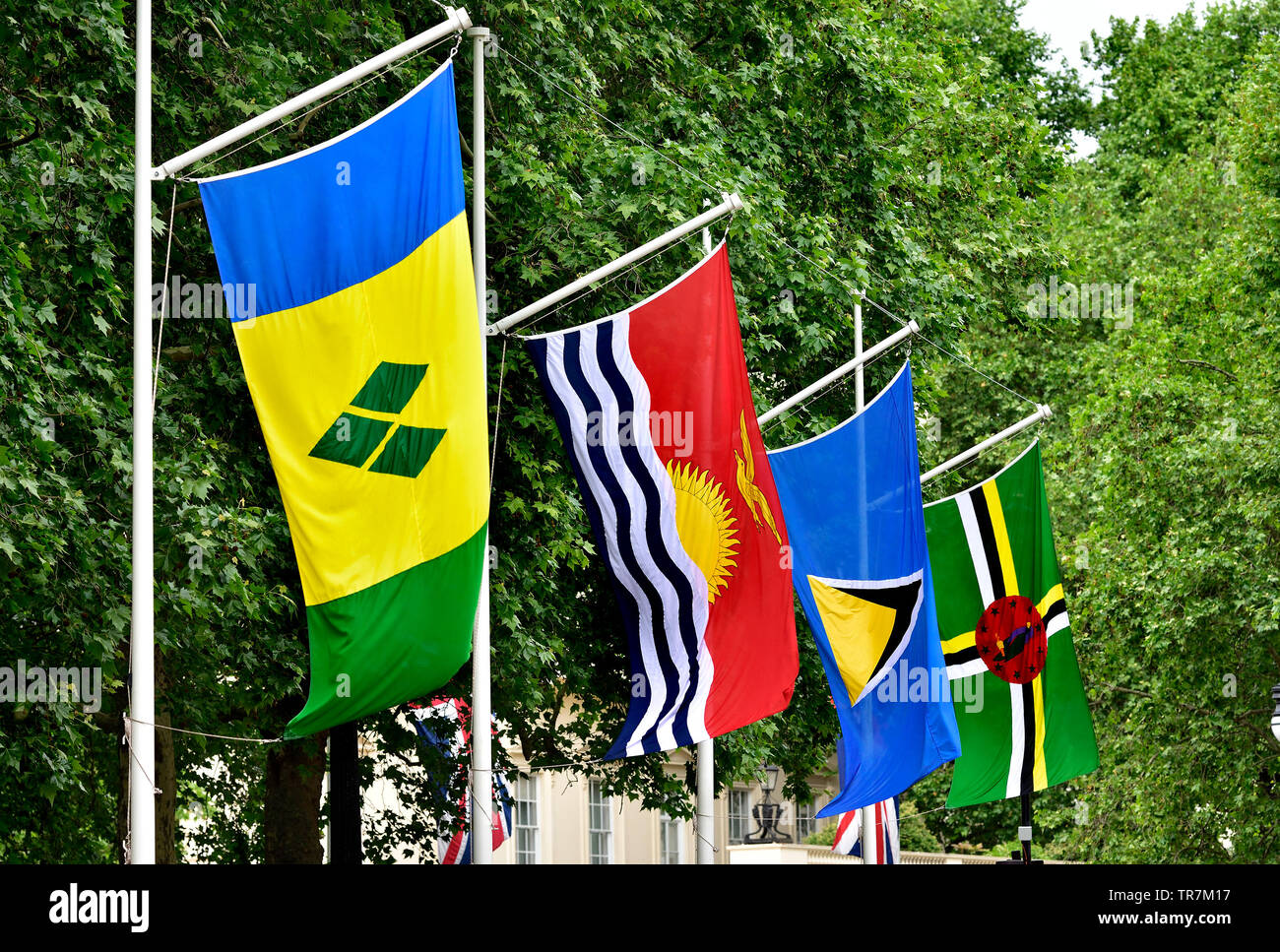 London, England, UK. Commonwealth flags in Horse Guards Road ready for the Trooping of the Colour: St Vincent and the Grenadines; Kiribati; Saint Luci - Stock Image