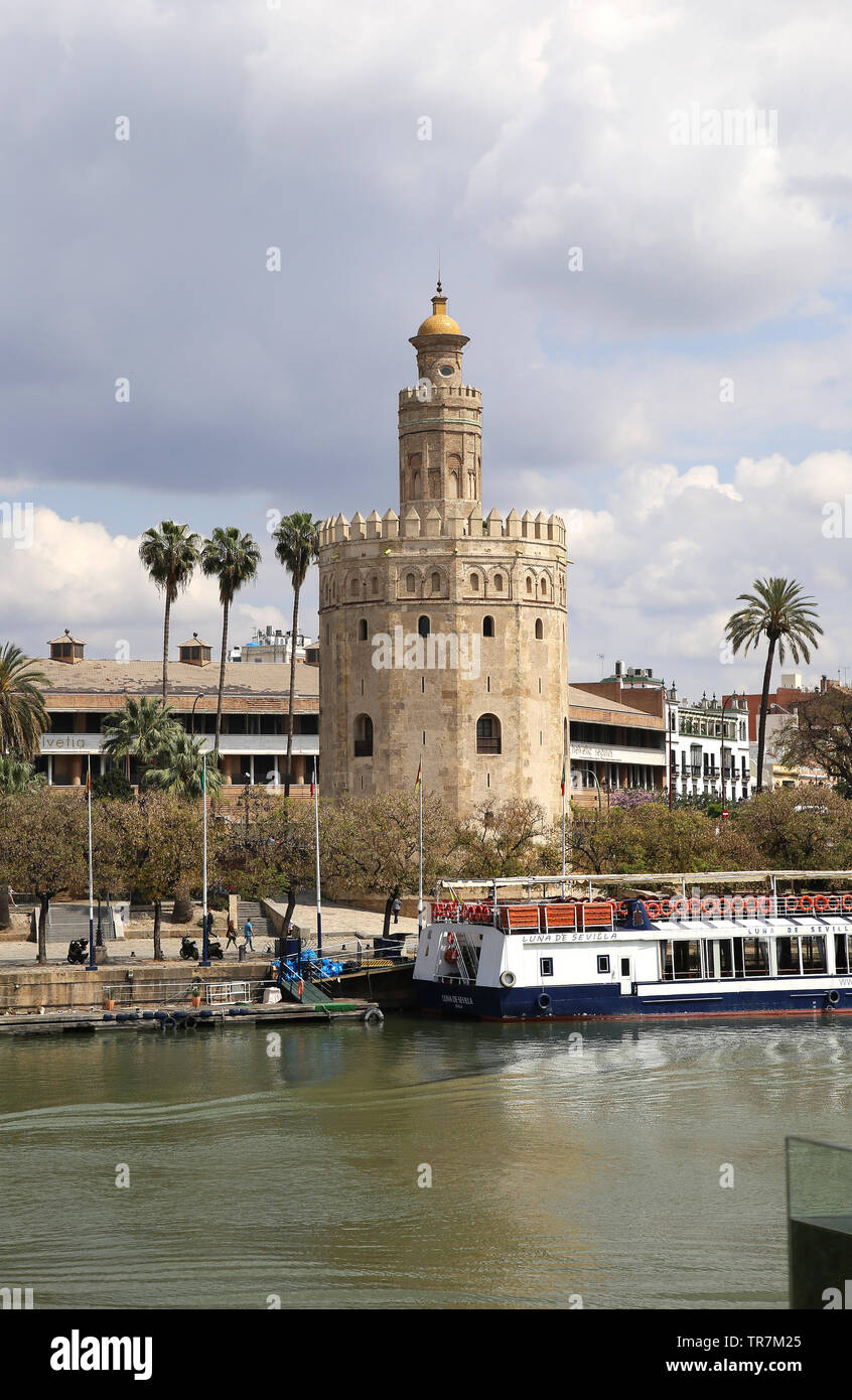 Spain. Andalusia. Seville. Tower of  Gold. 1220-1221. Almohad Caliphate. - Stock Image