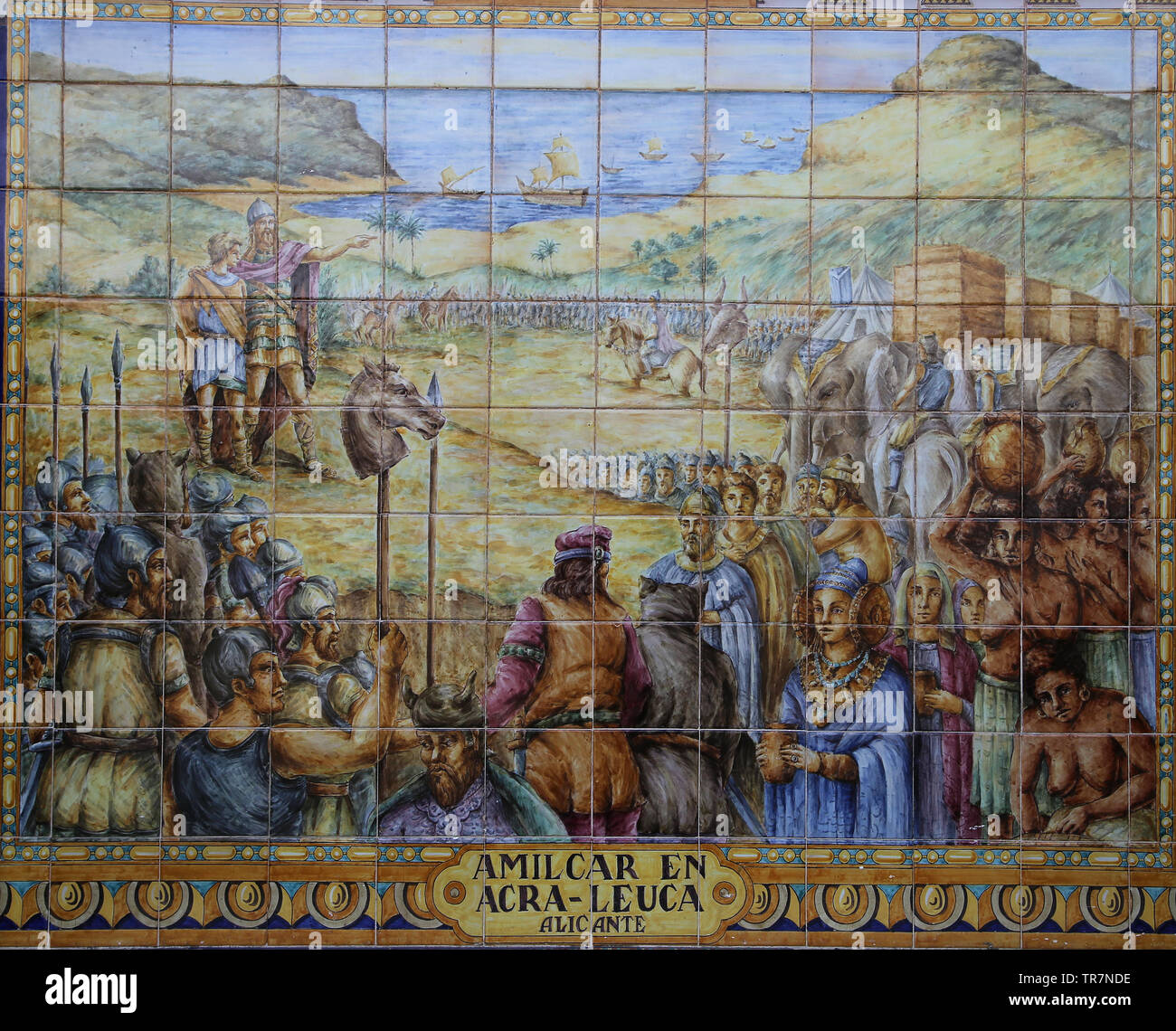 The Carthaginian general Hamilcar Barca (275-228 BC)founded Akra Keuka (Alicante). Ceramics tiles. Spain Square. Seville, Spain. - Stock Image