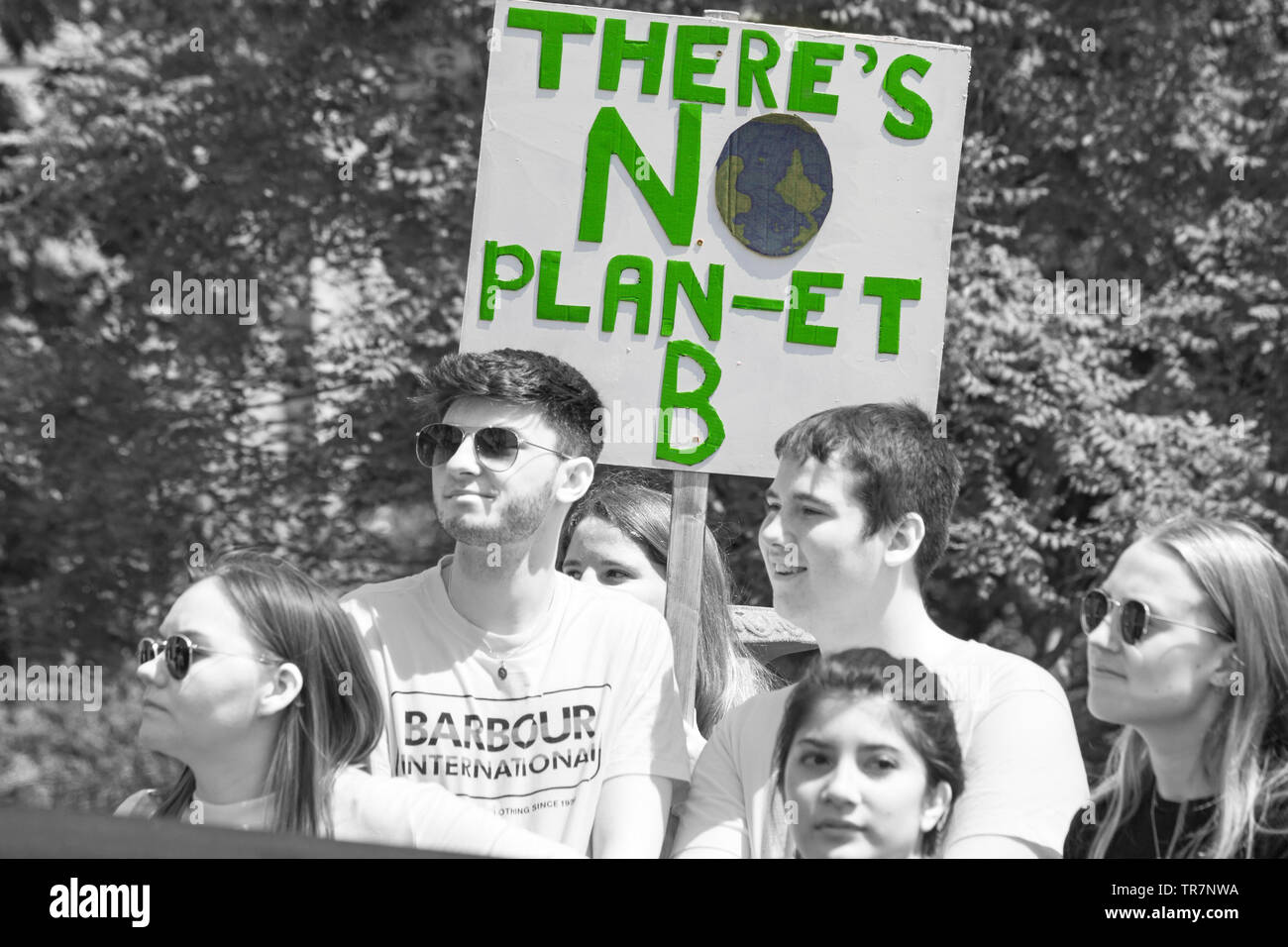 Students holding there's no plan-et B banner sign at Youth Strike 4 Climate at Bournemouth, Dorset in May Stock Photo