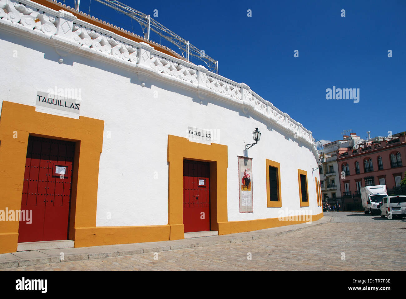 The Plaza de Toros de la Real Maestranza in Seville, Spain on April 3, 2019. The bullfighting ring has a capacity of twelve thousand people. - Stock Image