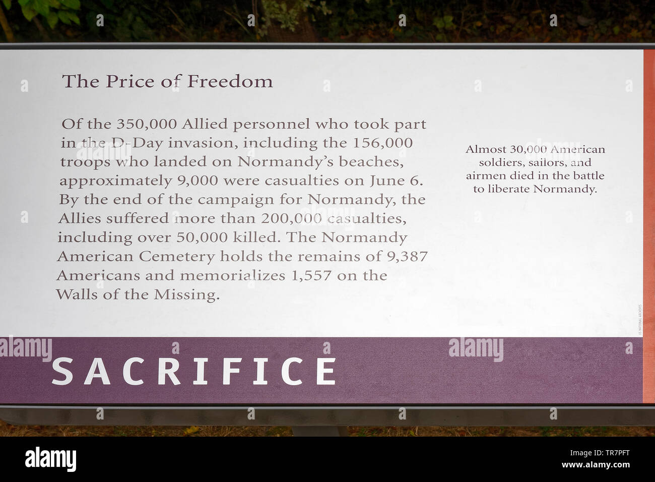 The Price of Freedom Plaque, Sacrifice, D-Day Invasion, WWII; statistical information, sobering, military, Normandy; France; summer; horizontal - Stock Image