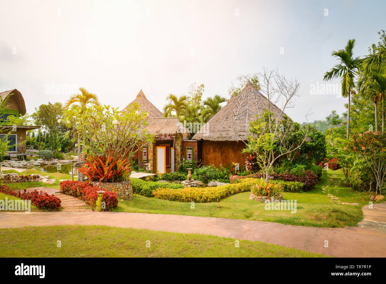 Plant And Flower Tree Decorate On Front Yard With Walkway And Cottage Garden Background Stock Photo Alamy