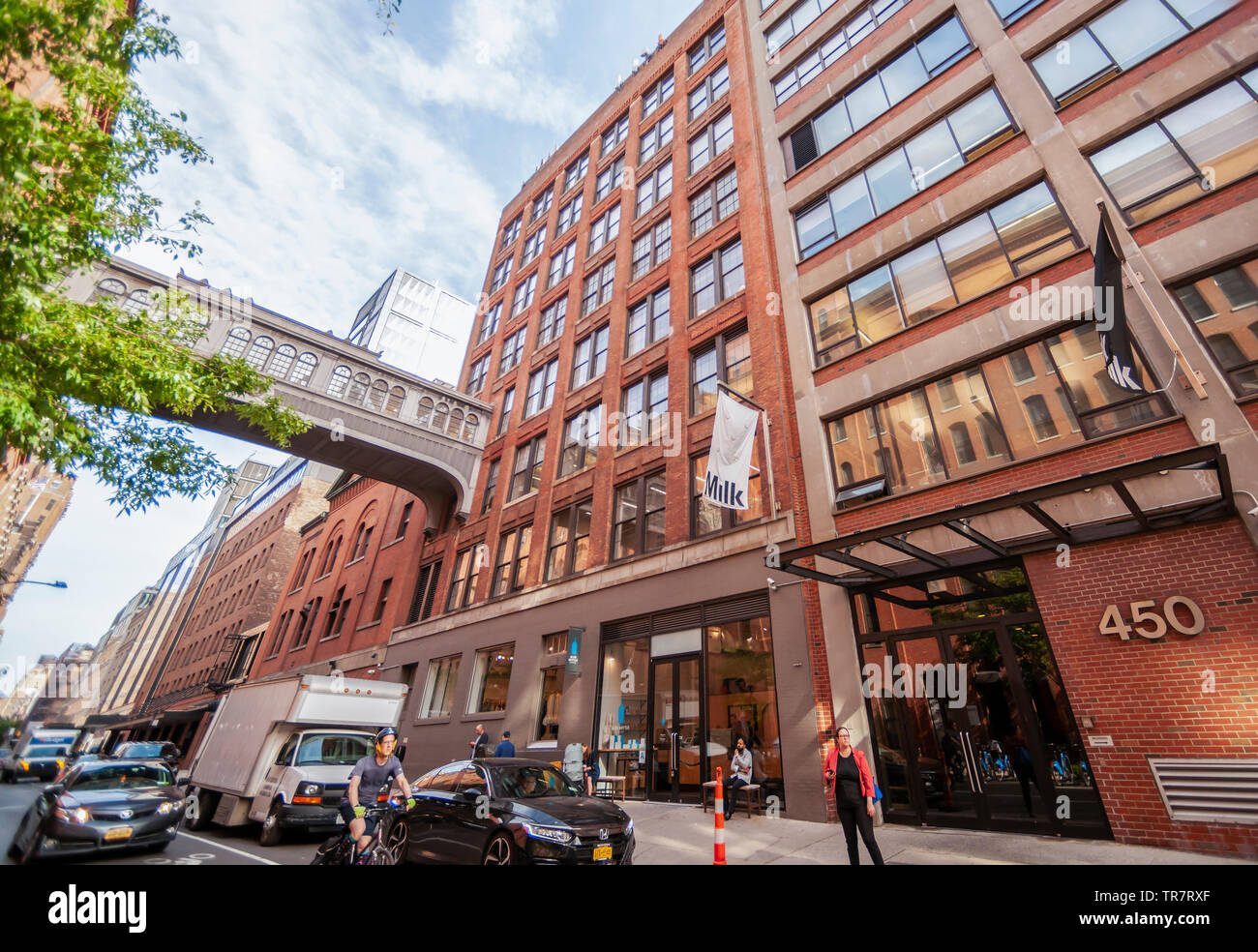 The Milk Building at 450 West 15th street in the Chelsea neighborhood of New York on Wednesday, May 22, 2019. Google is reported to have purchased the eight story building from Jamestown Properties for an undisclosed sum.  (© Richard B. Levine) - Stock Image