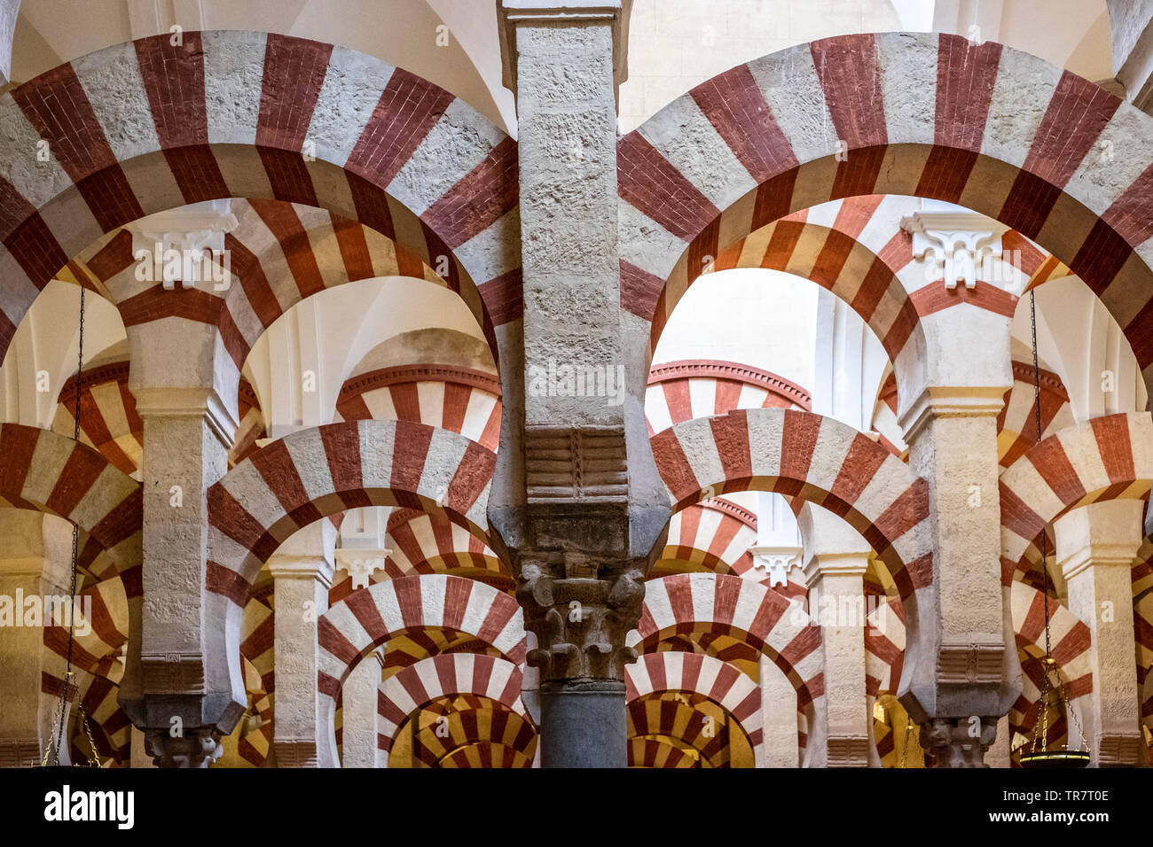 Red And White Striped Double Arches That Support The Roof Of The Mezquita Old Mosque Cordoba Spain Stock Photo Alamy