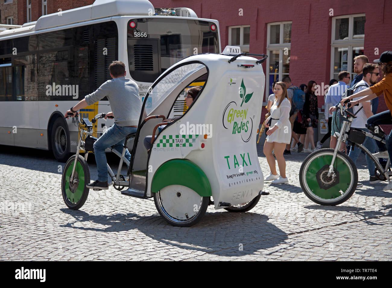 Bruges, Belgium, eco friendly, triicycle, rikshaw, taxi, vehicle, Europe Stock Photo