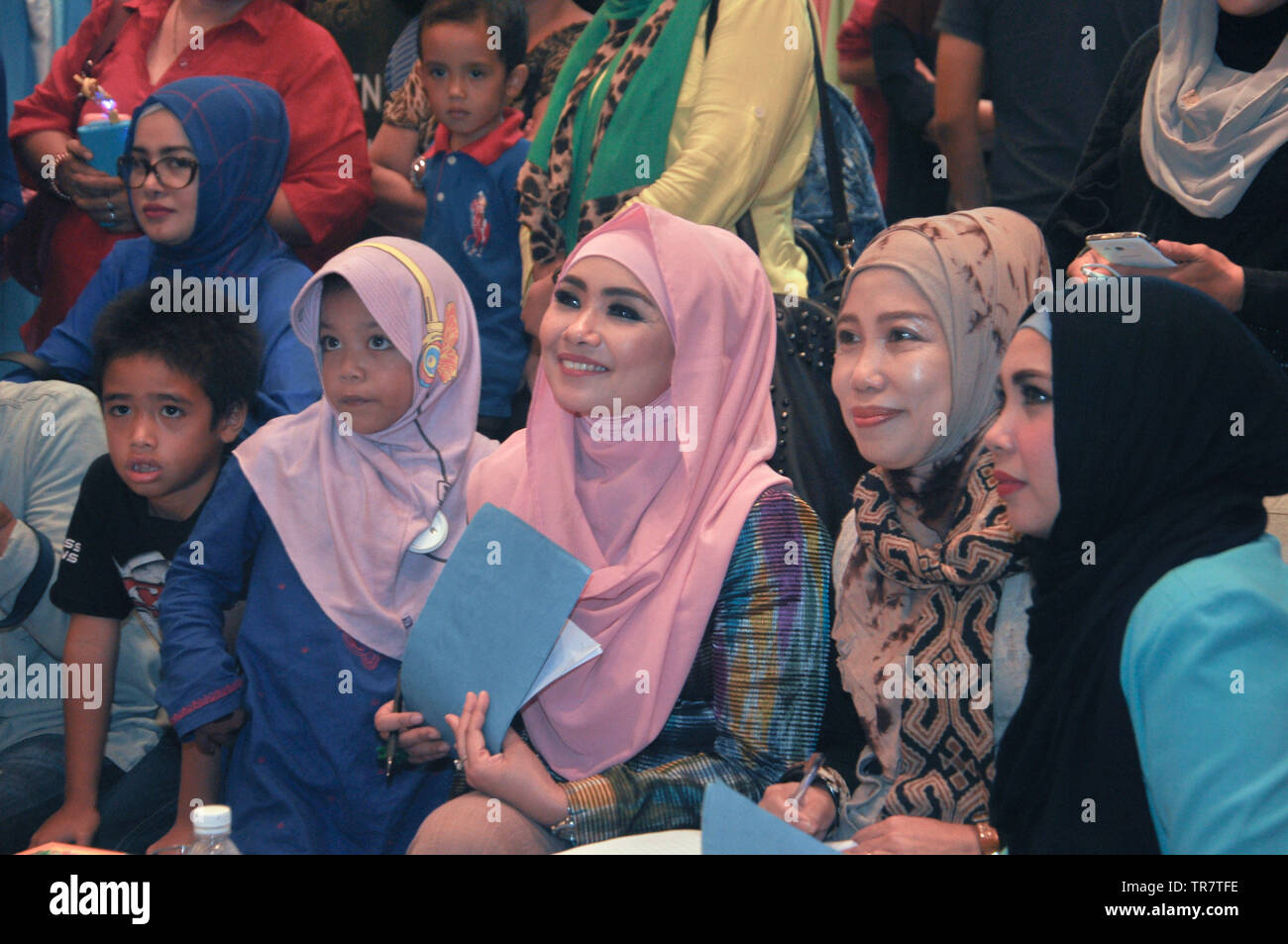 Juries watch a fashion competition at Indonesia Moslem