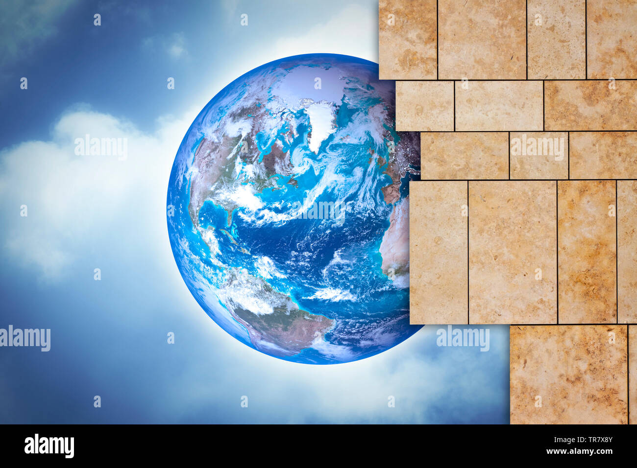 Through a open modern stone wall you can see the world - concept image with copy space - Photo composition with elements furnished by NASA - The image - Stock Image